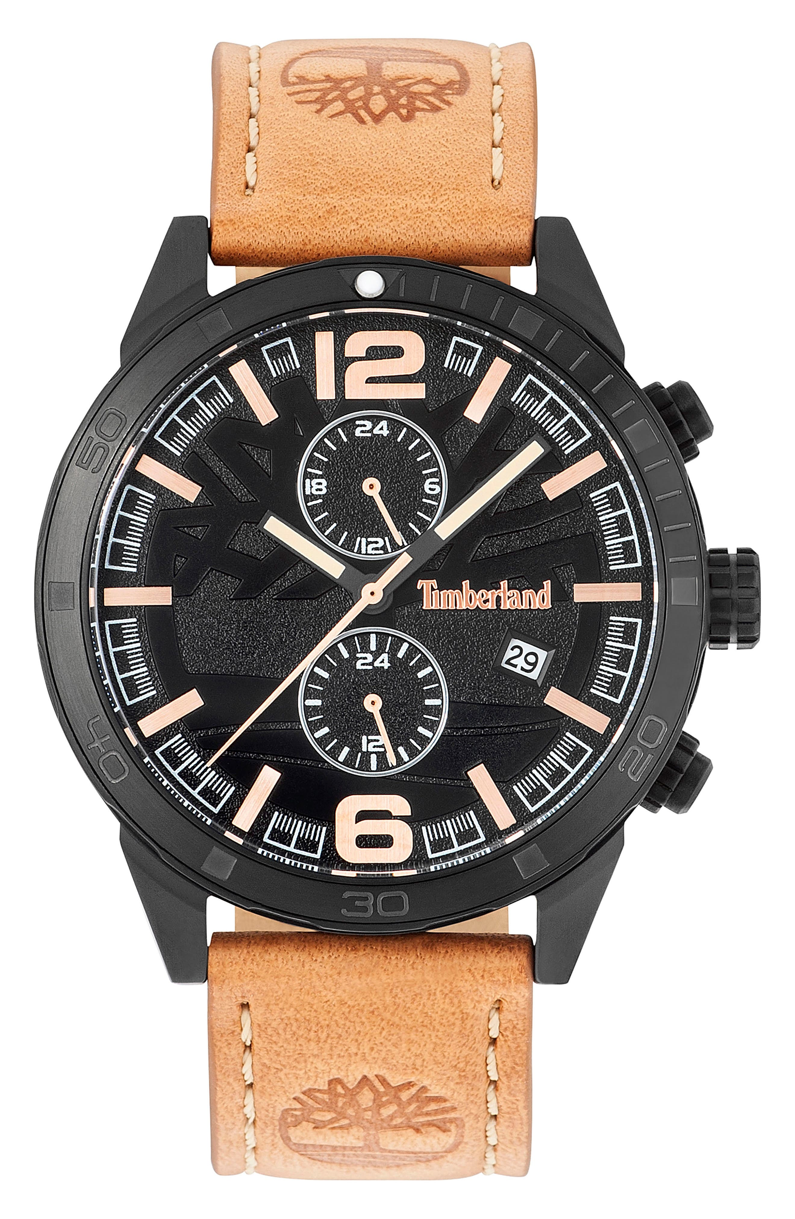 Timberland Sagamore Multifunction Leather Strap Watch, 46mm