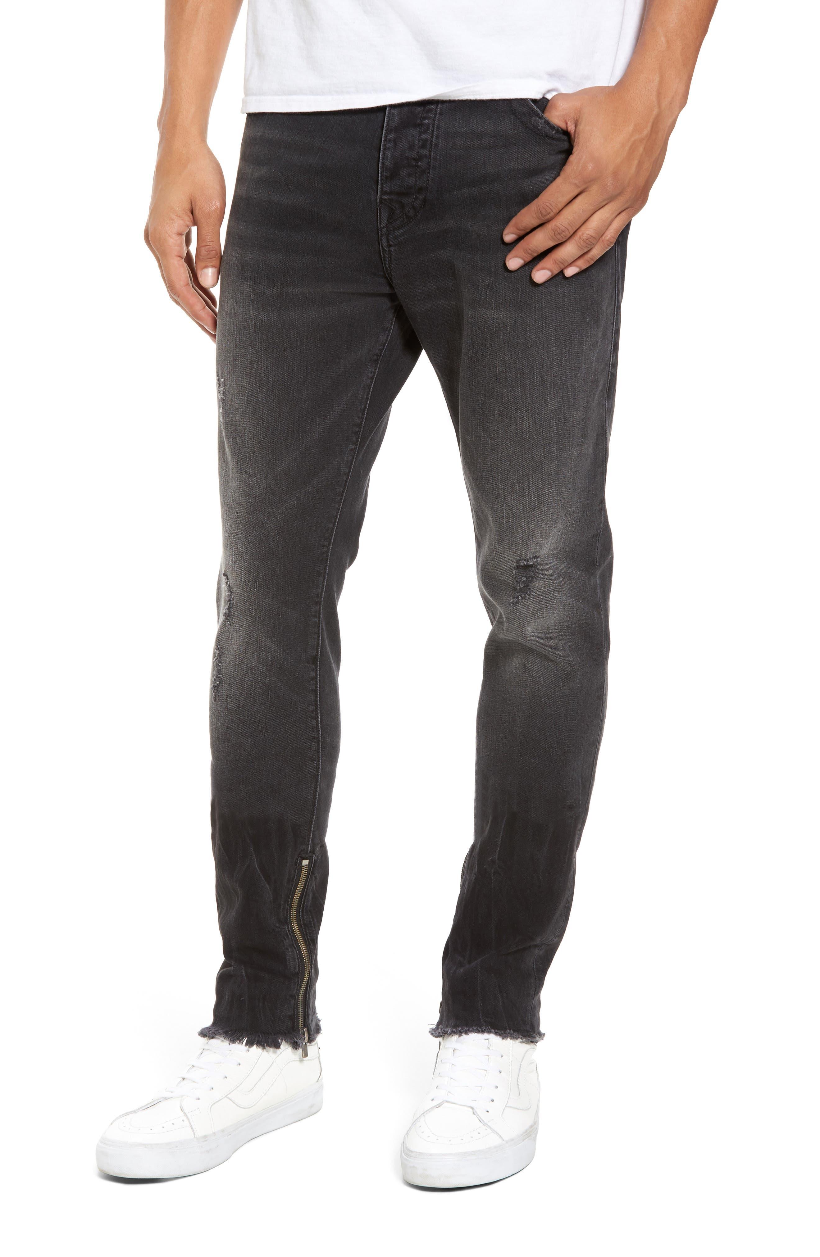Alternate Image 1 Selected - True Religion Brand Jeans Finn Frayed Skinny Fit Jeans (Dark Envy)