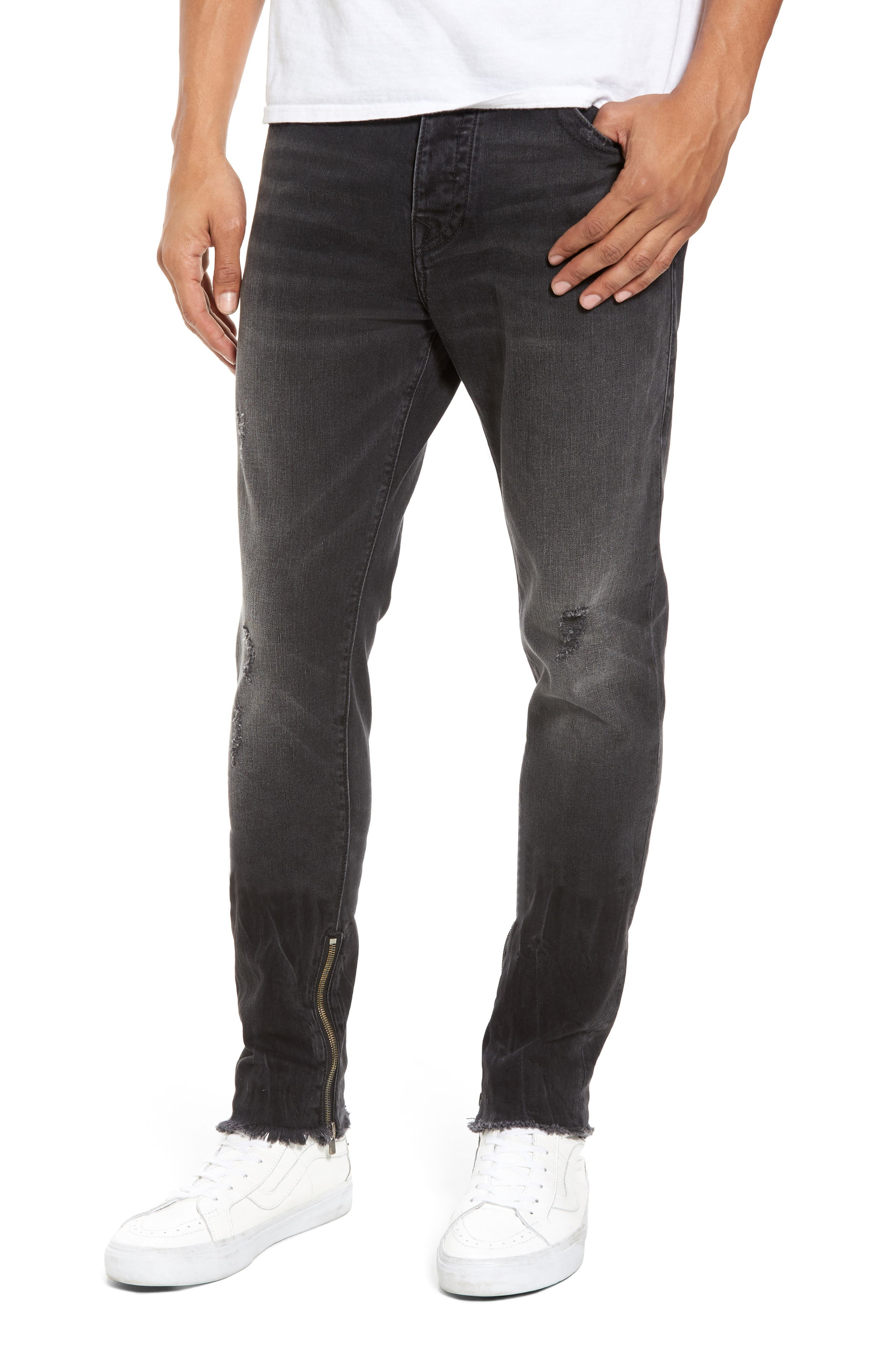 True Religion Brand Jeans Finn Frayed Skinny Fit Jeans (Dark Envy)