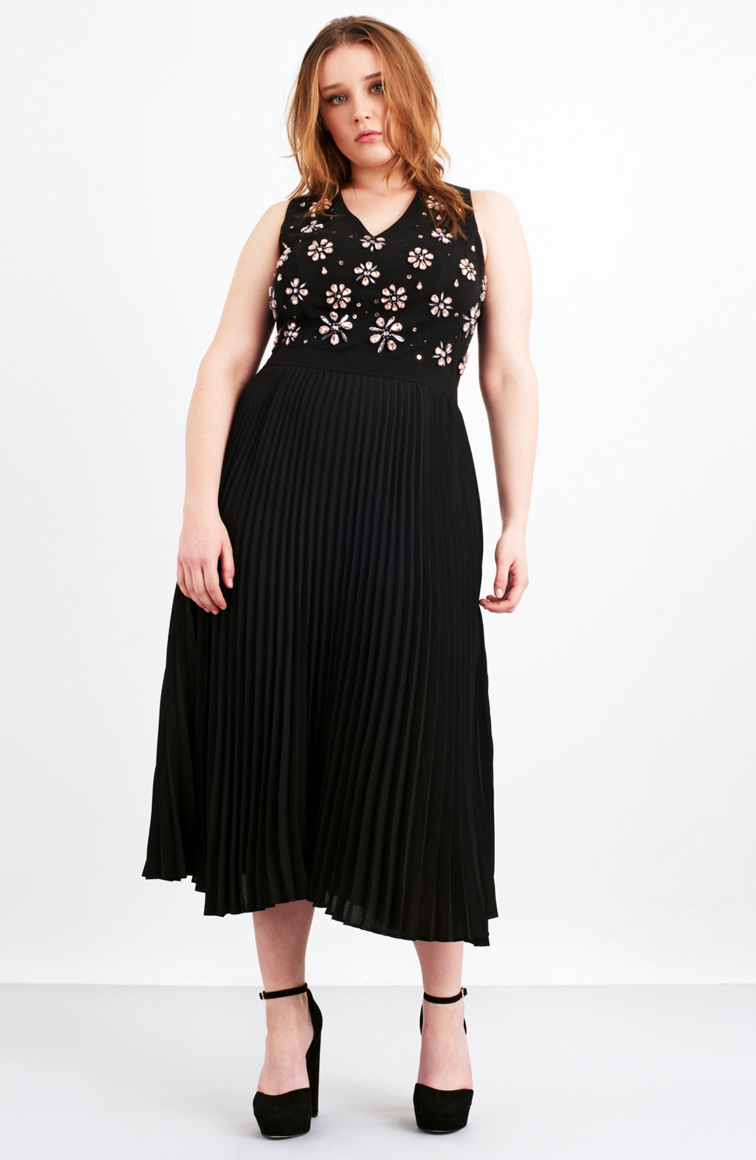 Crystal Flower Embellished Dress,                             Alternate thumbnail 2, color,                             Black