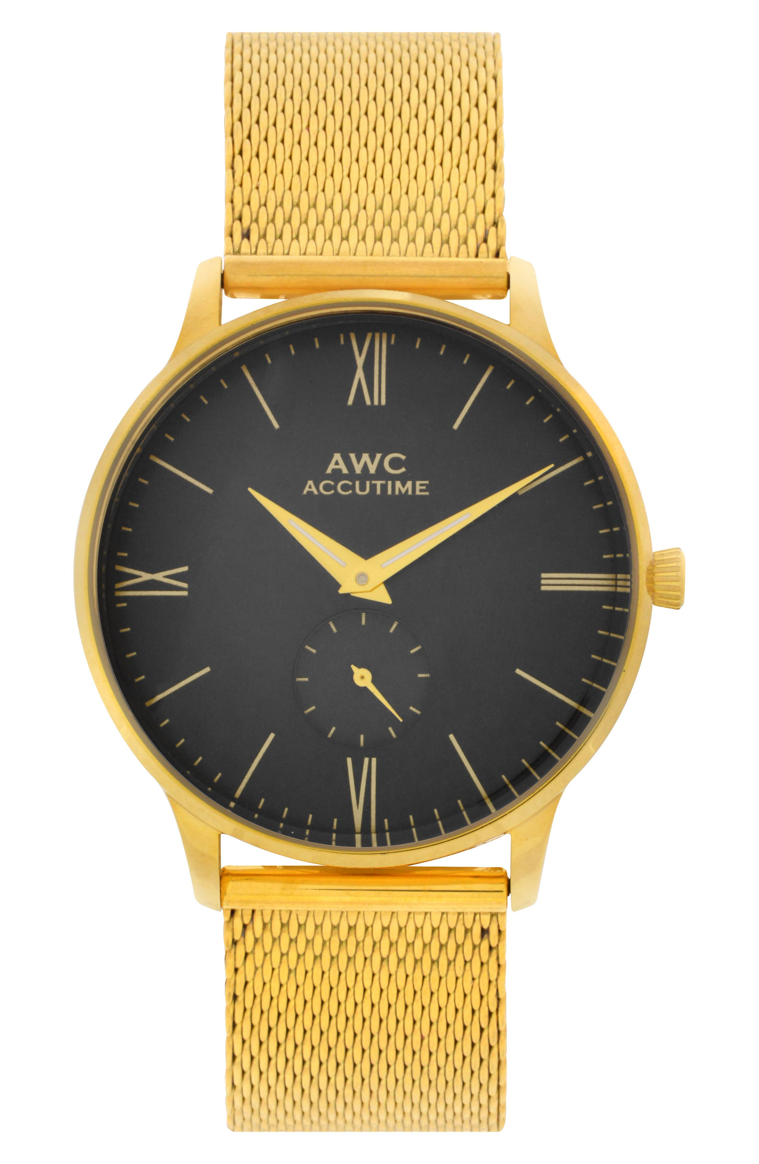 Subeye Mesh Strap Watch, 40mm,                         Main,                         color, Black/ Gold Mesh