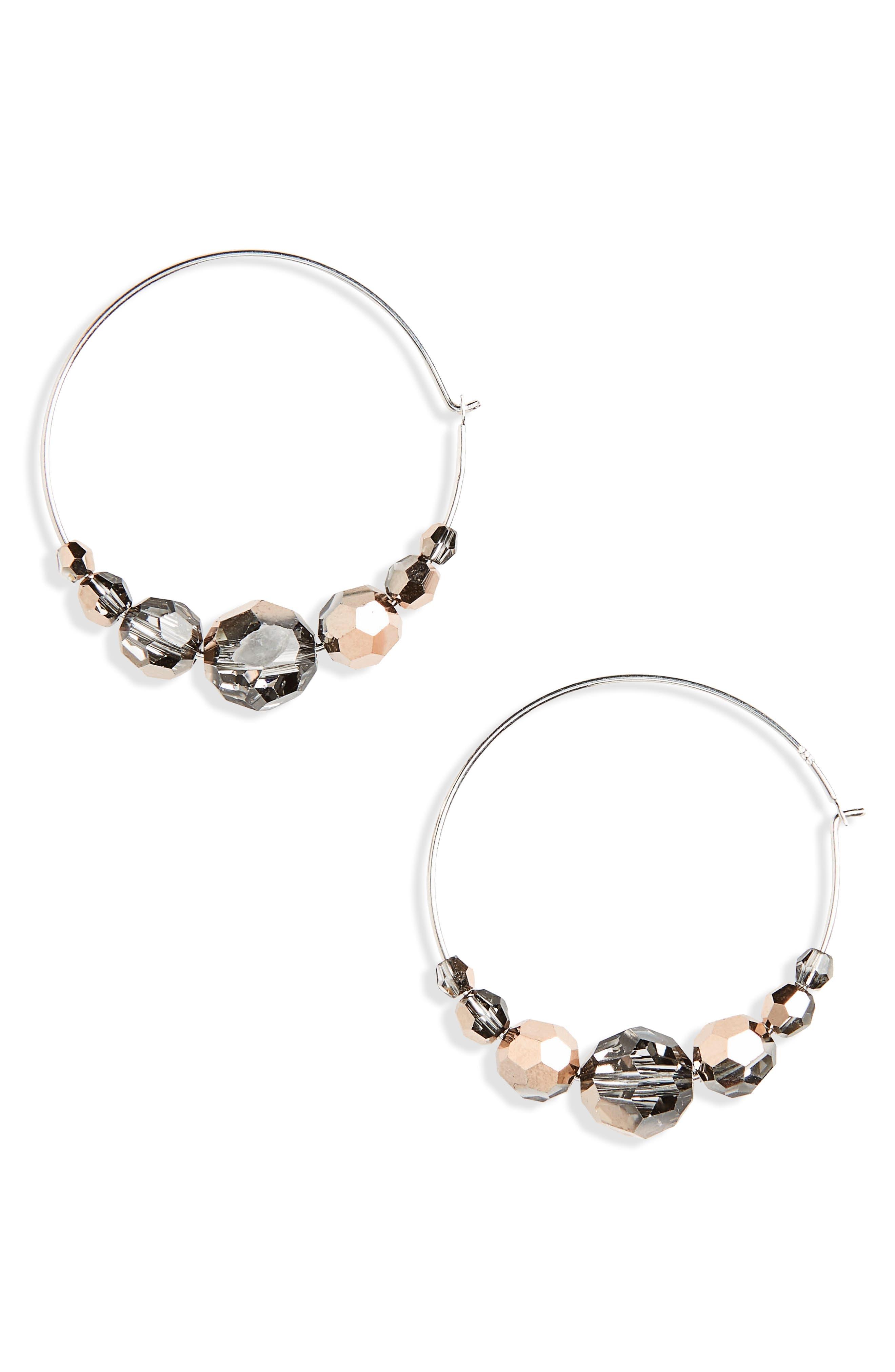 Graduated Crystal Hoop Earrings,                         Main,                         color, Rose Gold