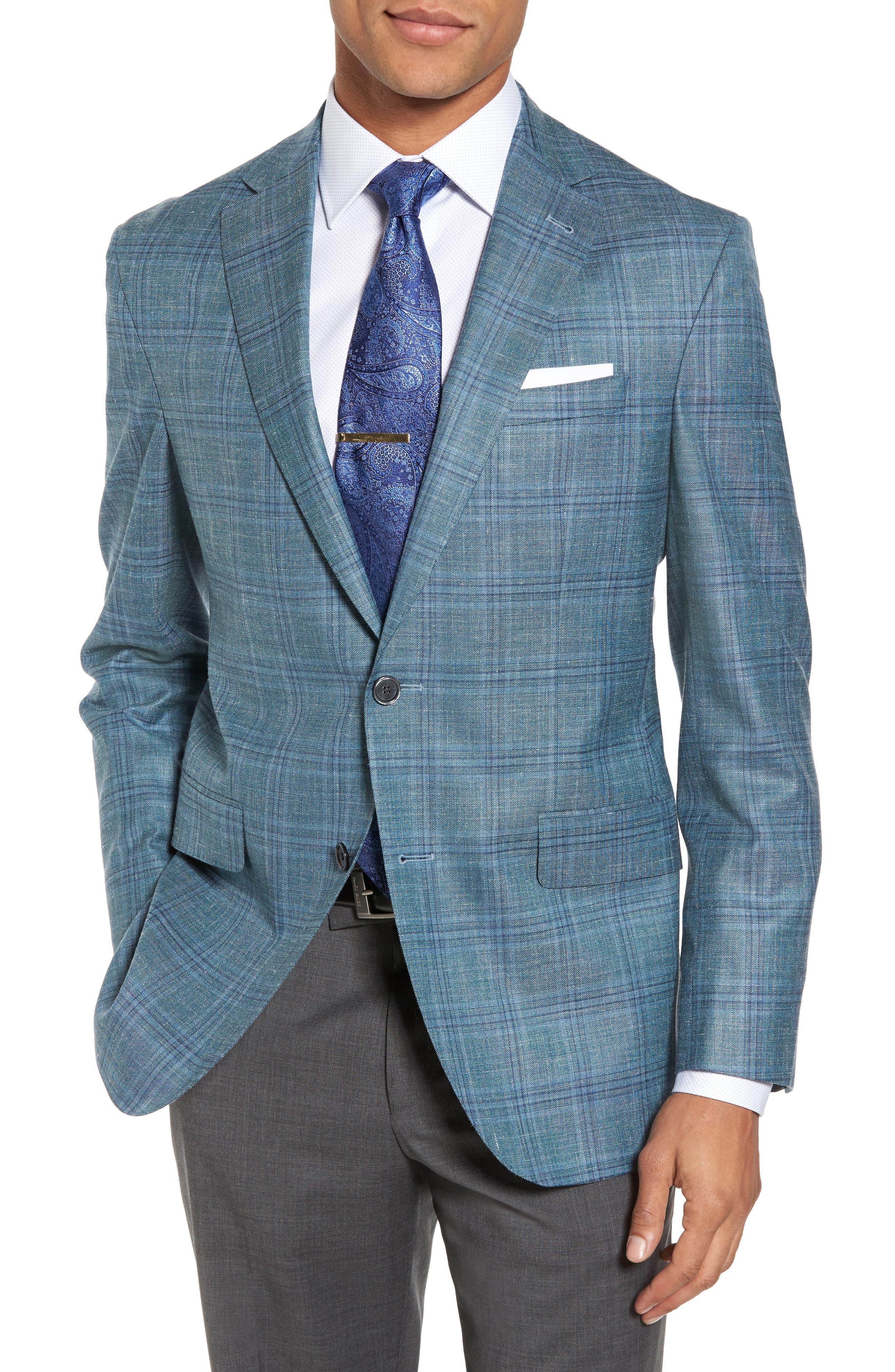 Ashton Classic Fit Stretch Plaid Wool Blend Sport Coat,                         Main,                         color, Green