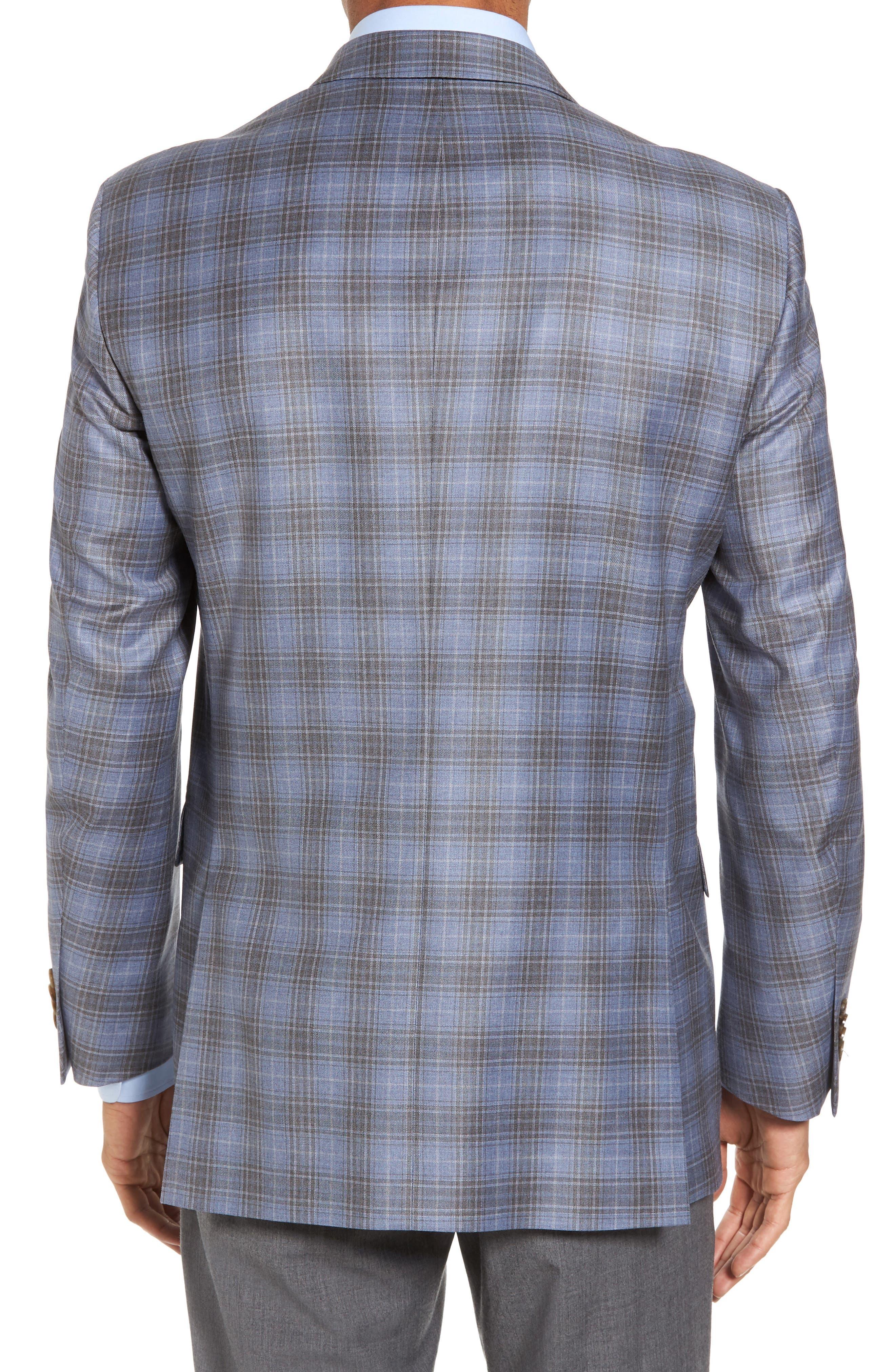 Classic Fit Plaid Wool Sport Coat,                             Alternate thumbnail 2, color,                             Light Blue