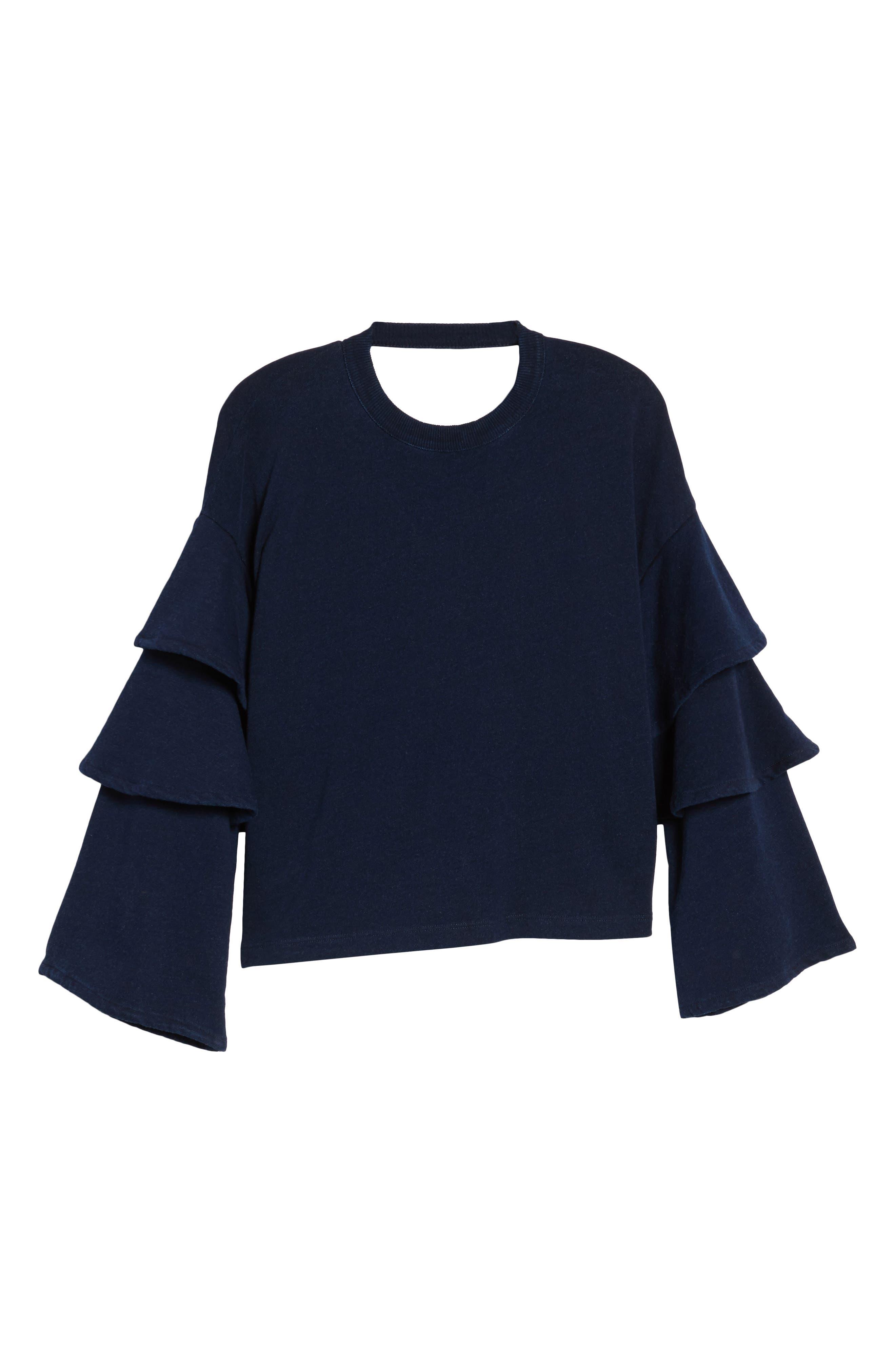 Pearl Ruffle Sweatshirt,                             Alternate thumbnail 6, color,                             Dark Indigo