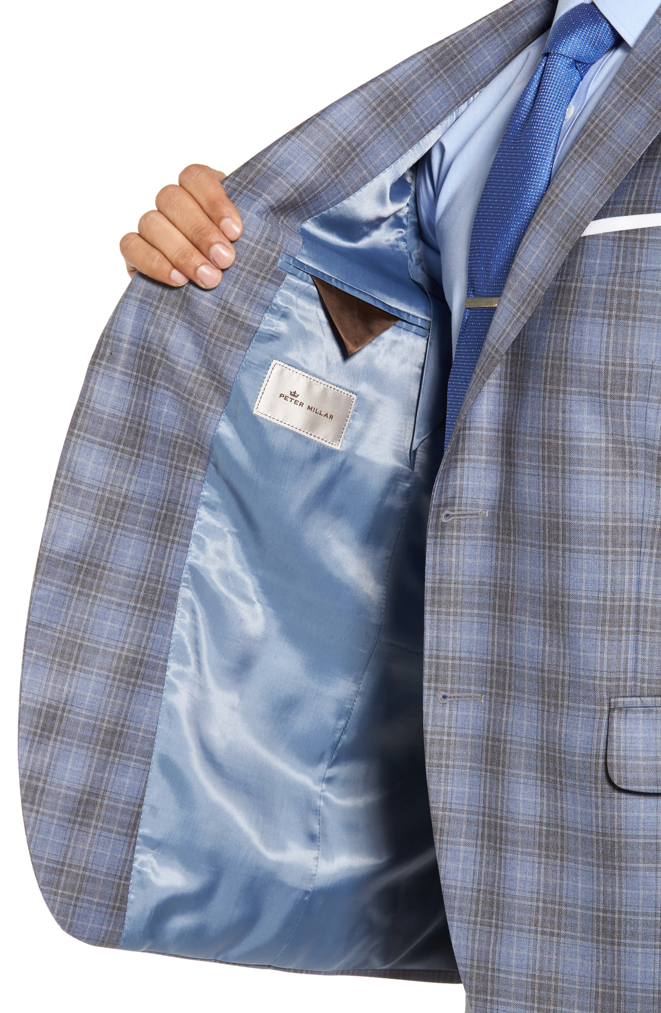 Classic Fit Plaid Wool Sport Coat,                             Alternate thumbnail 4, color,                             Light Blue