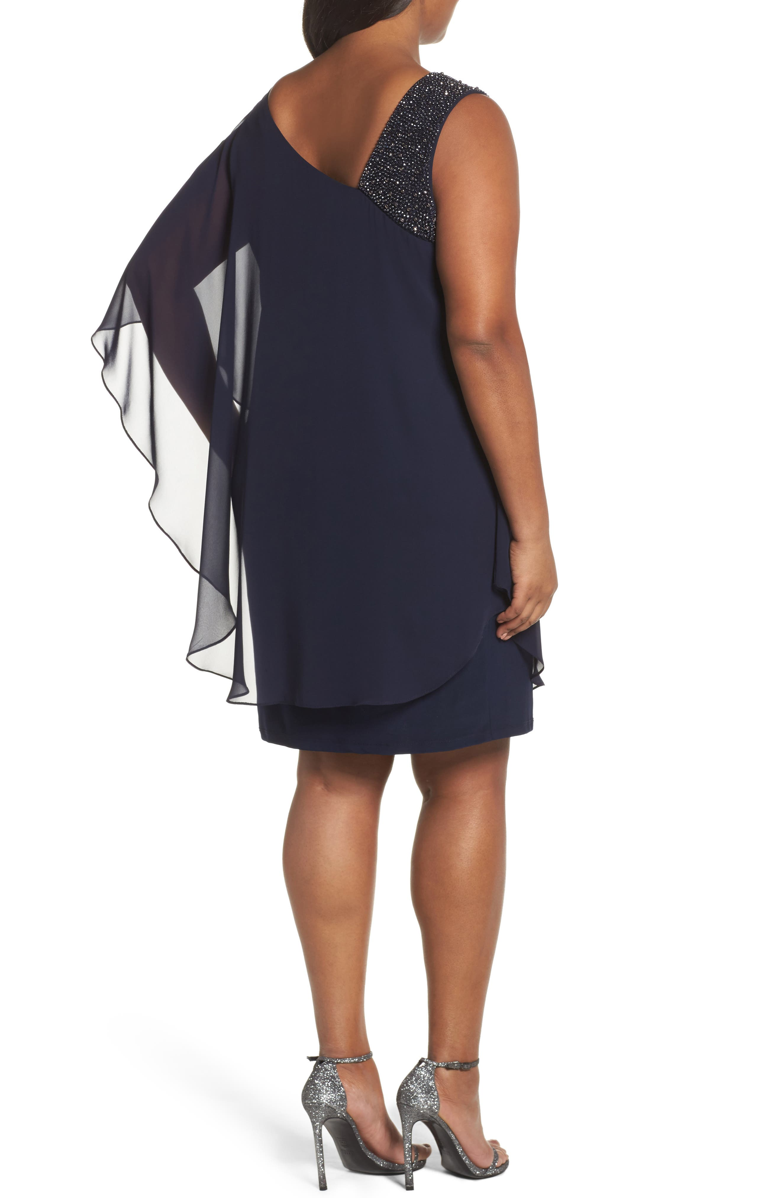 Alternate Image 2  - Xscape Embellished One-Shoulder Overlay Cocktail Dress (Plus Size)