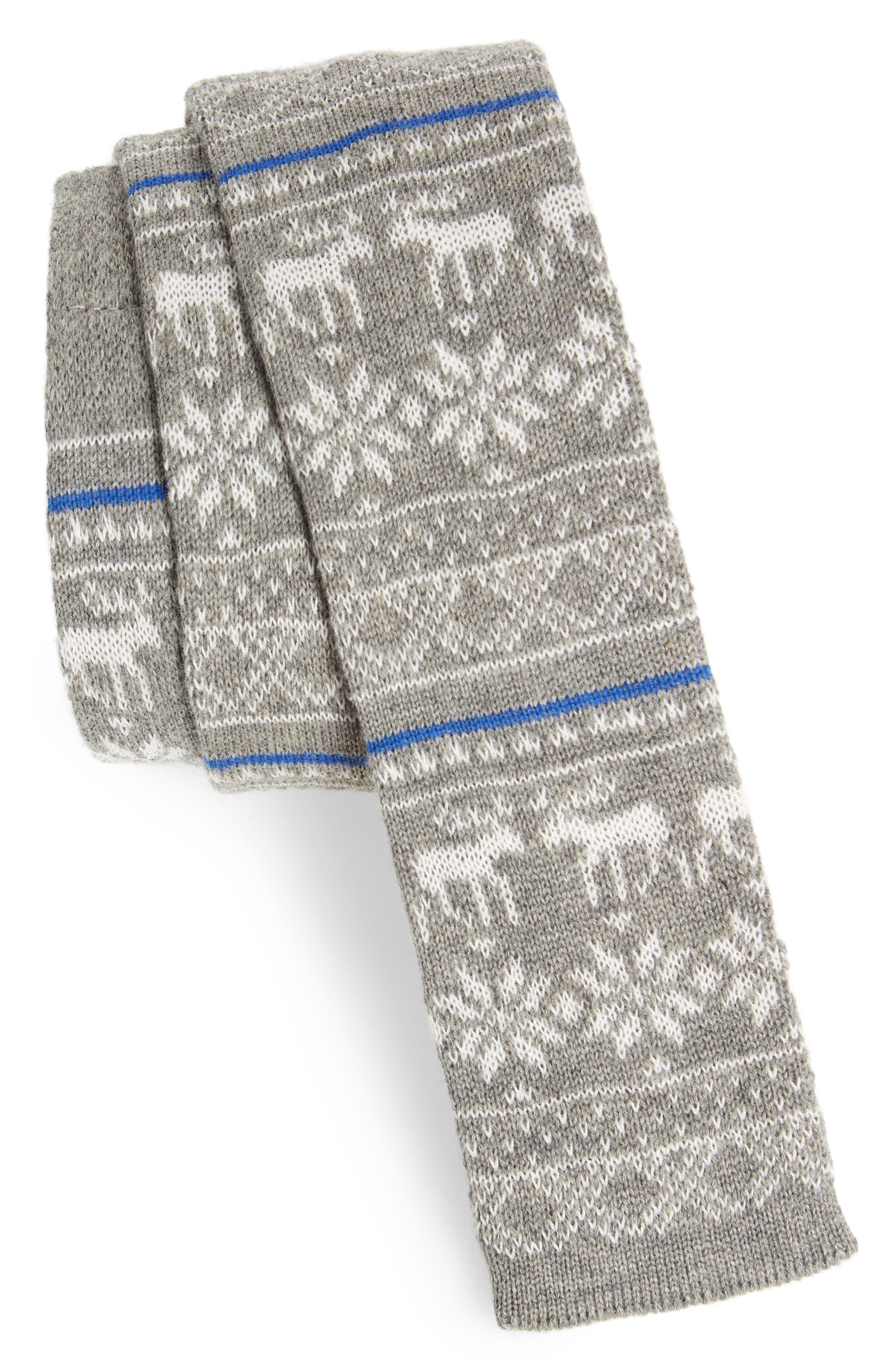 Knit Cotton Tie,                         Main,                         color, Charcoal