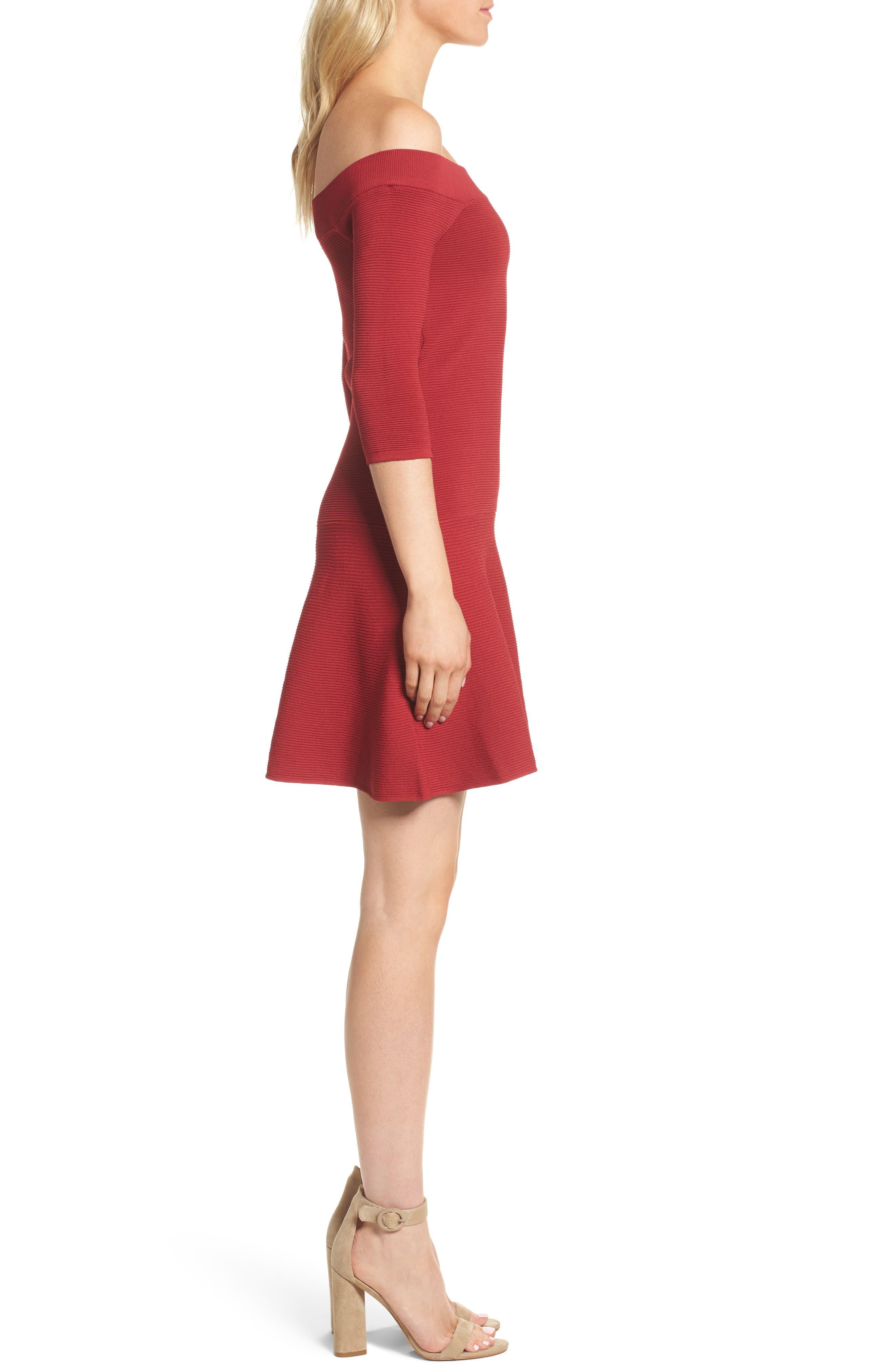 Whitley Off the Shoulder Dress,                             Alternate thumbnail 3, color,                             Crimson