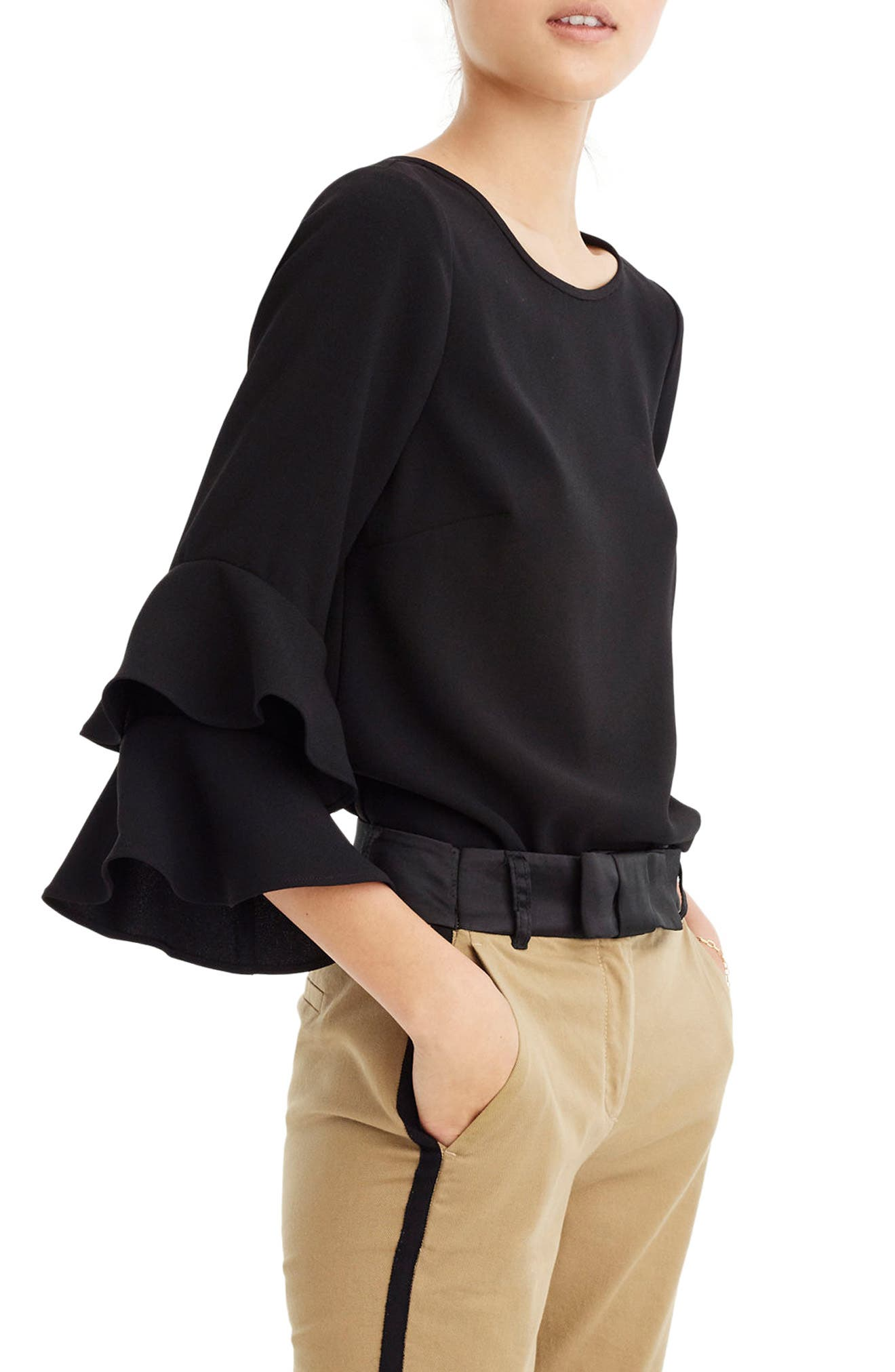 Lana Tiered Bell Sleeve Top,                         Main,                         color, Black