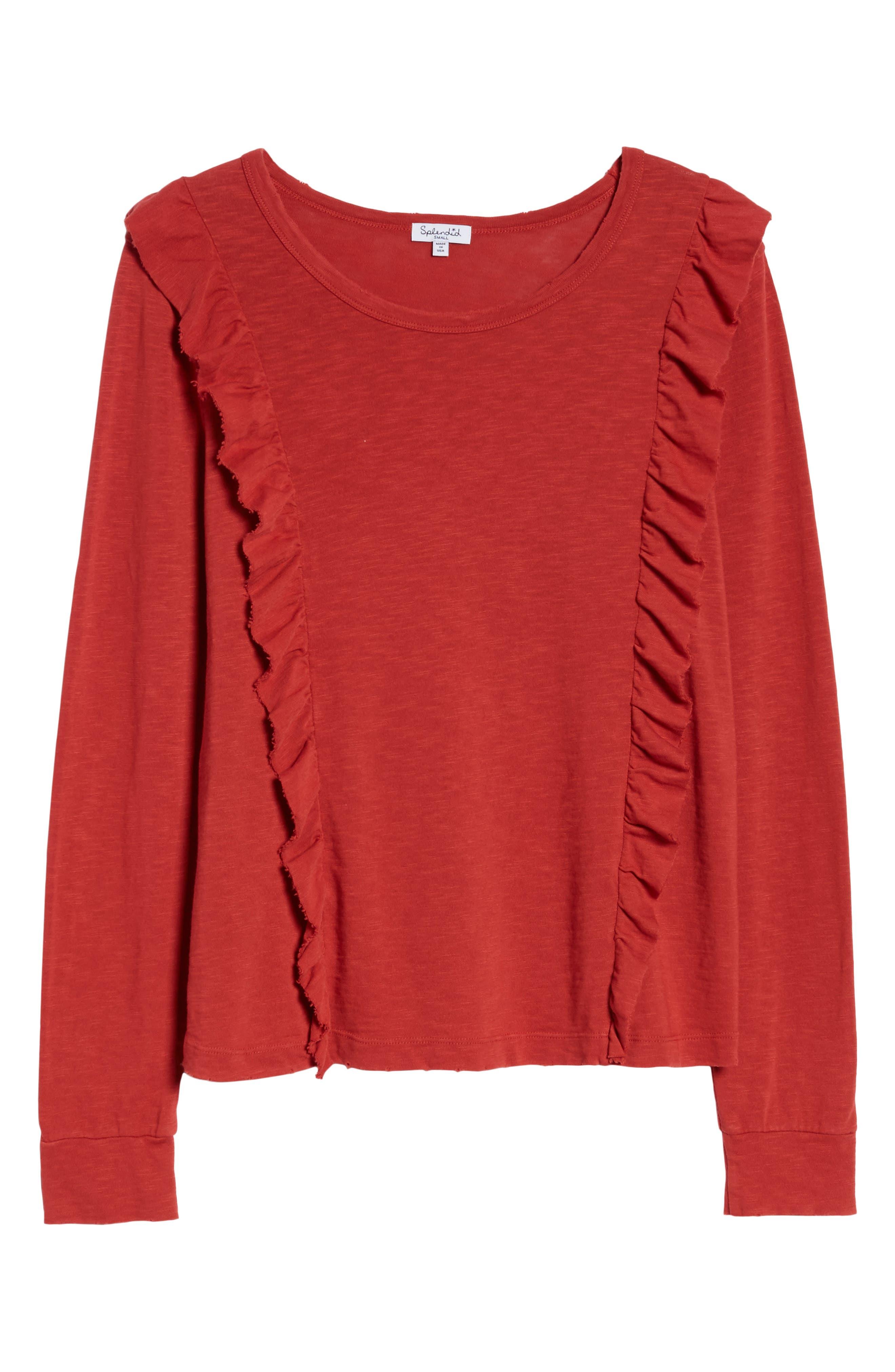 Ruffle Slub Knit Tee,                             Alternate thumbnail 6, color,                             Crimson
