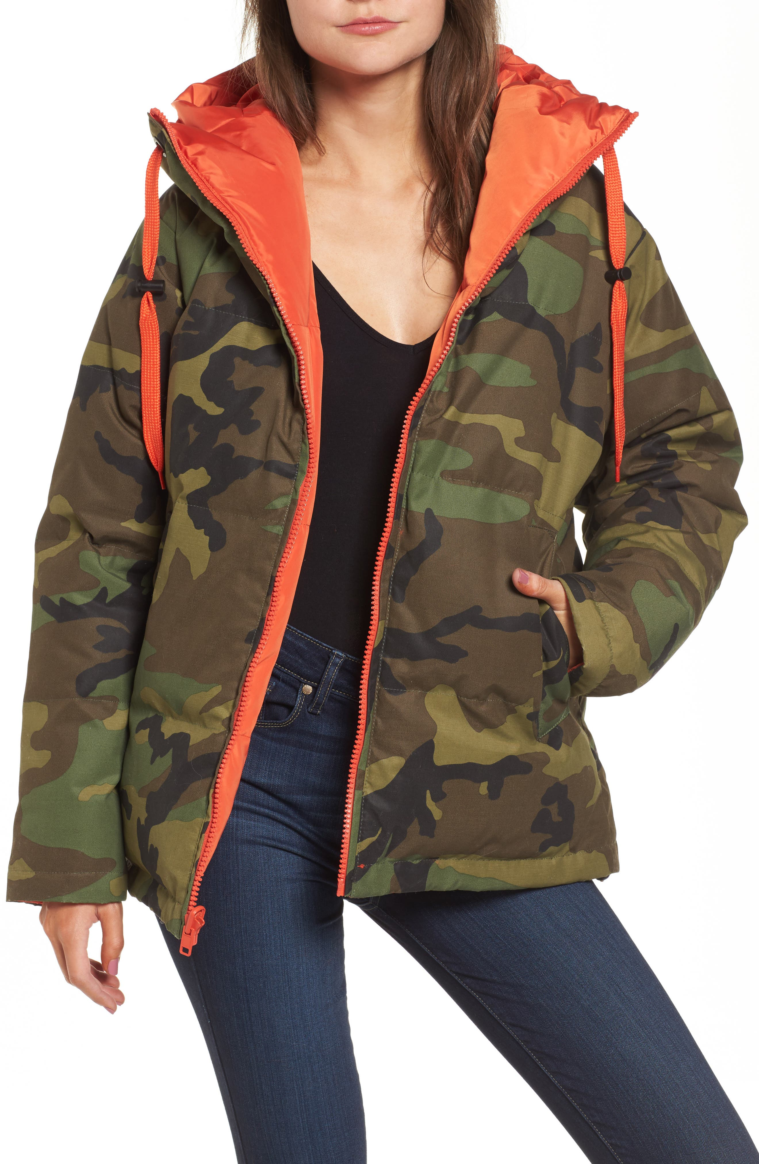 Reversible Puffer Jacket,                         Main,                         color, Camo/ Orange