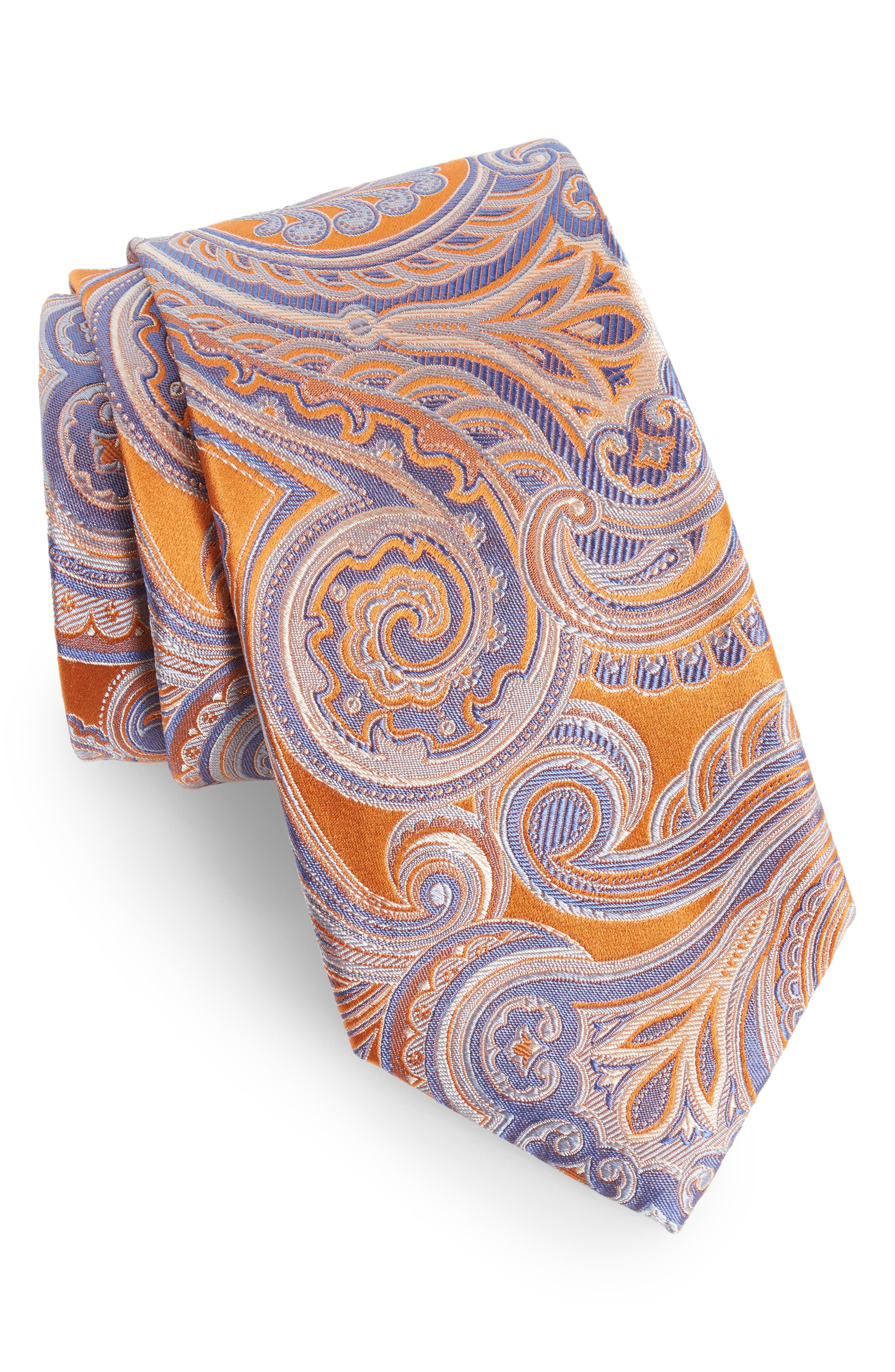 Paisley Silk Tie,                         Main,                         color, Orange
