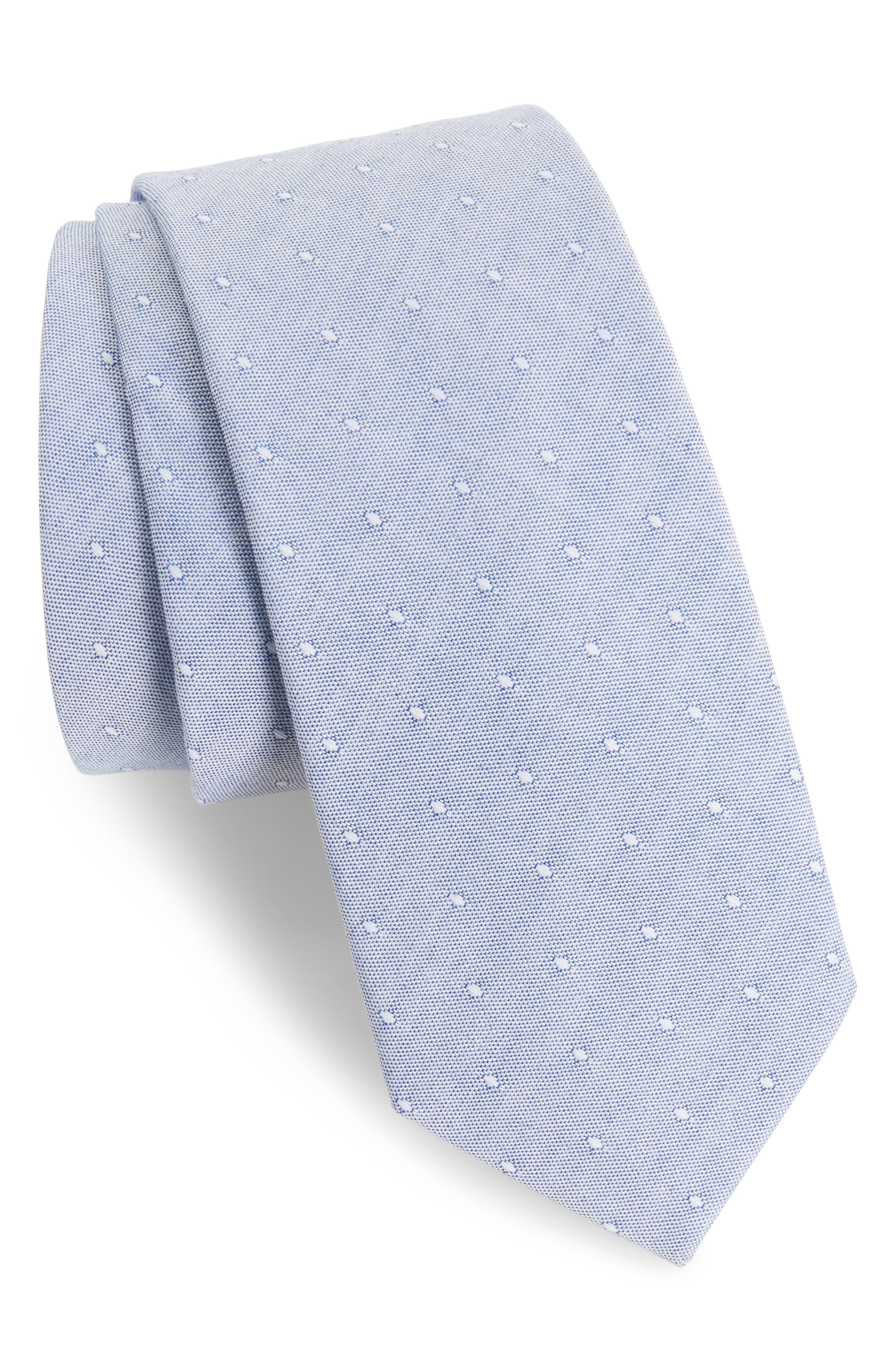 Main Image - 1901 Lantana Dot Cotton Skinny Tie
