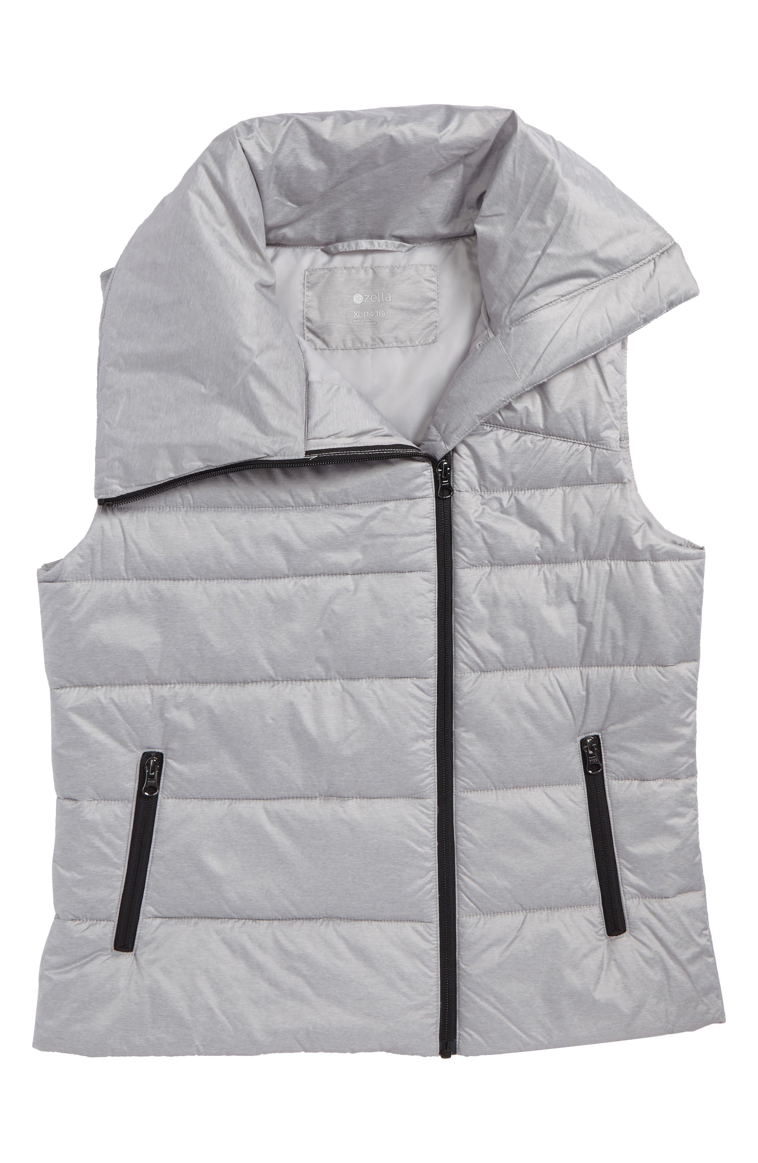 Asymmetrical Puffer Vest,                         Main,                         color, Metallic Silver