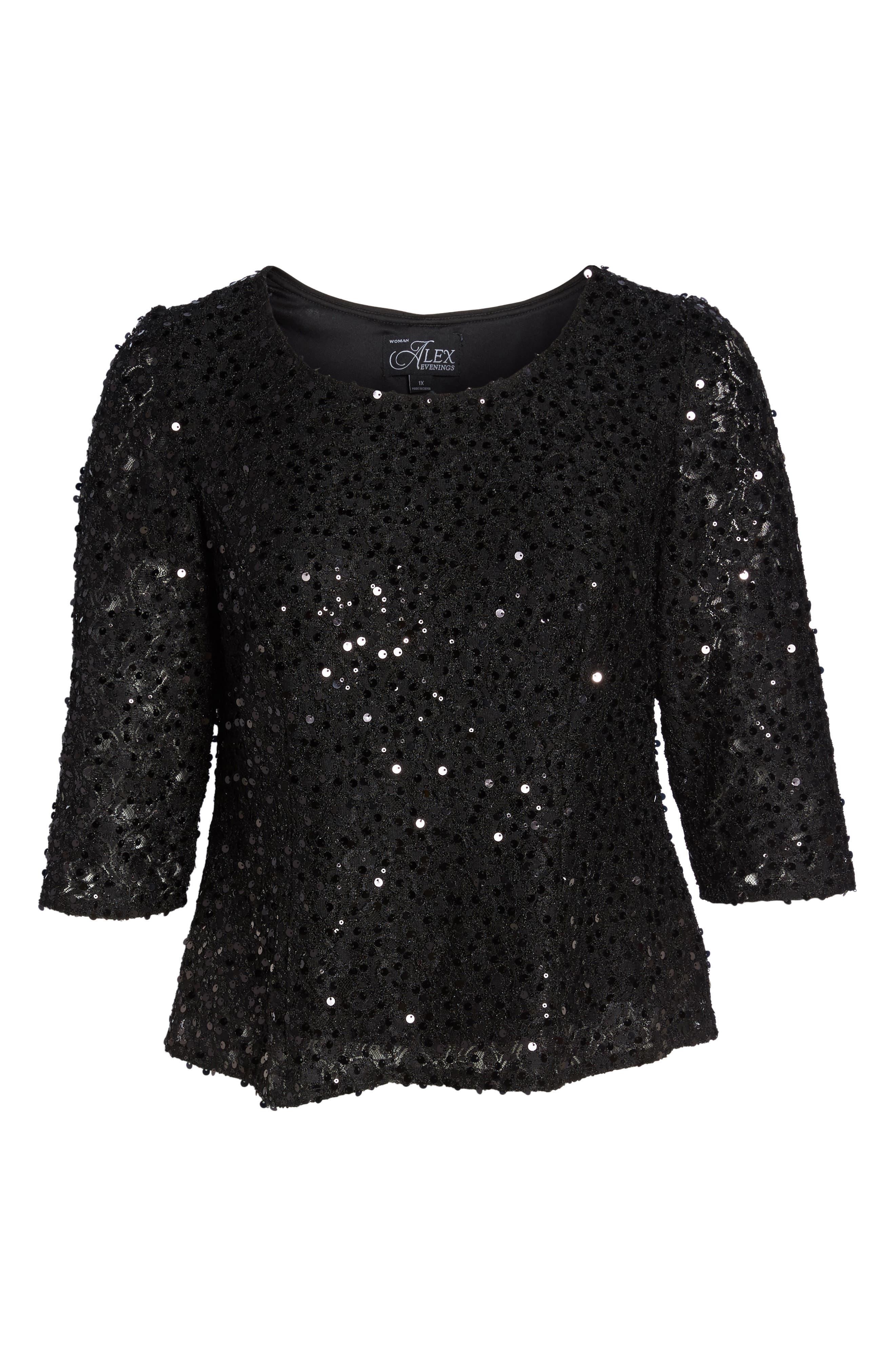 Sequin Top,                             Alternate thumbnail 6, color,                             Black