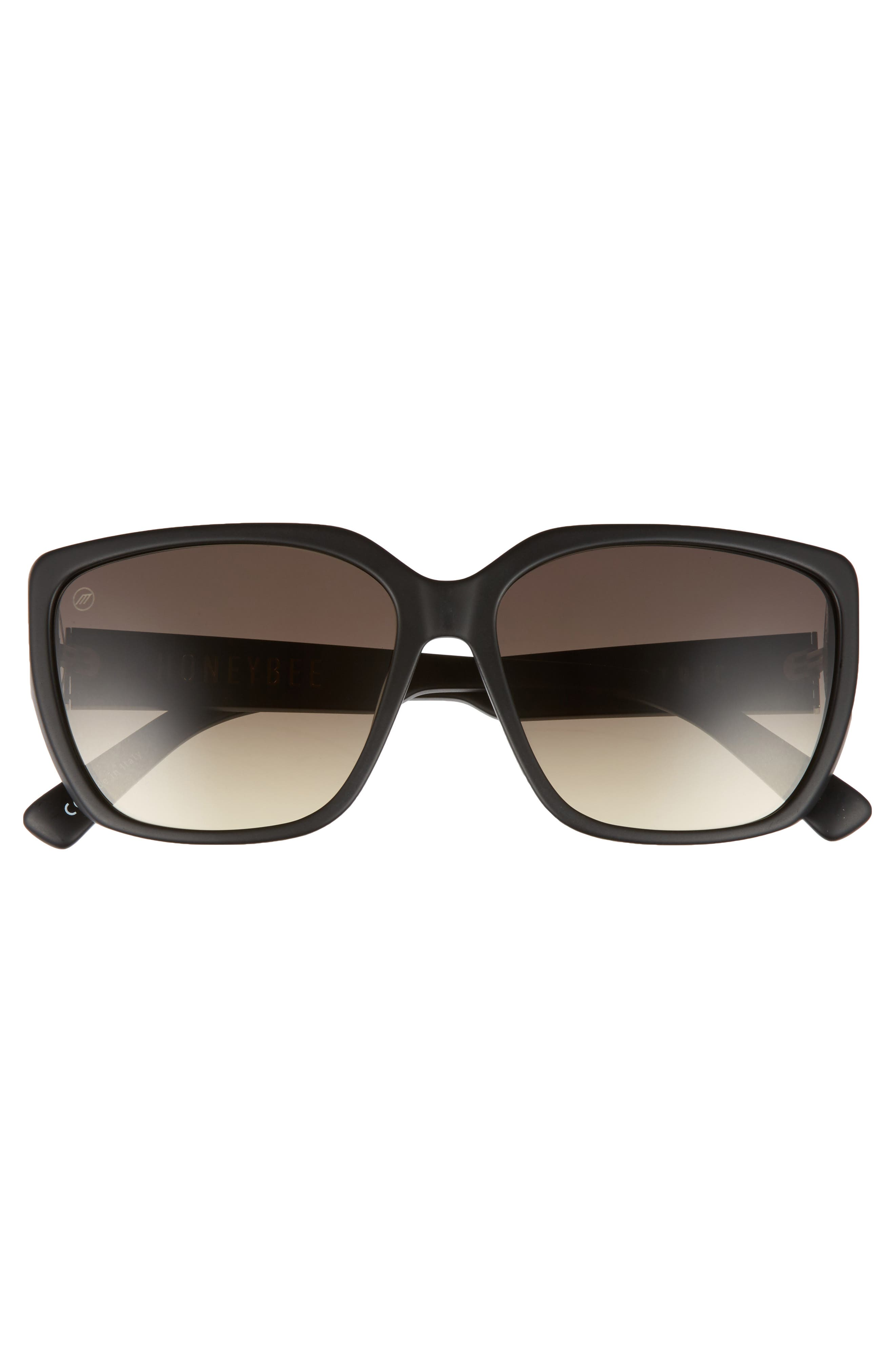 Honey Bee 60mm Mirrored Sunglasses,                             Alternate thumbnail 4, color,                             Matte Black/ Black Gradient
