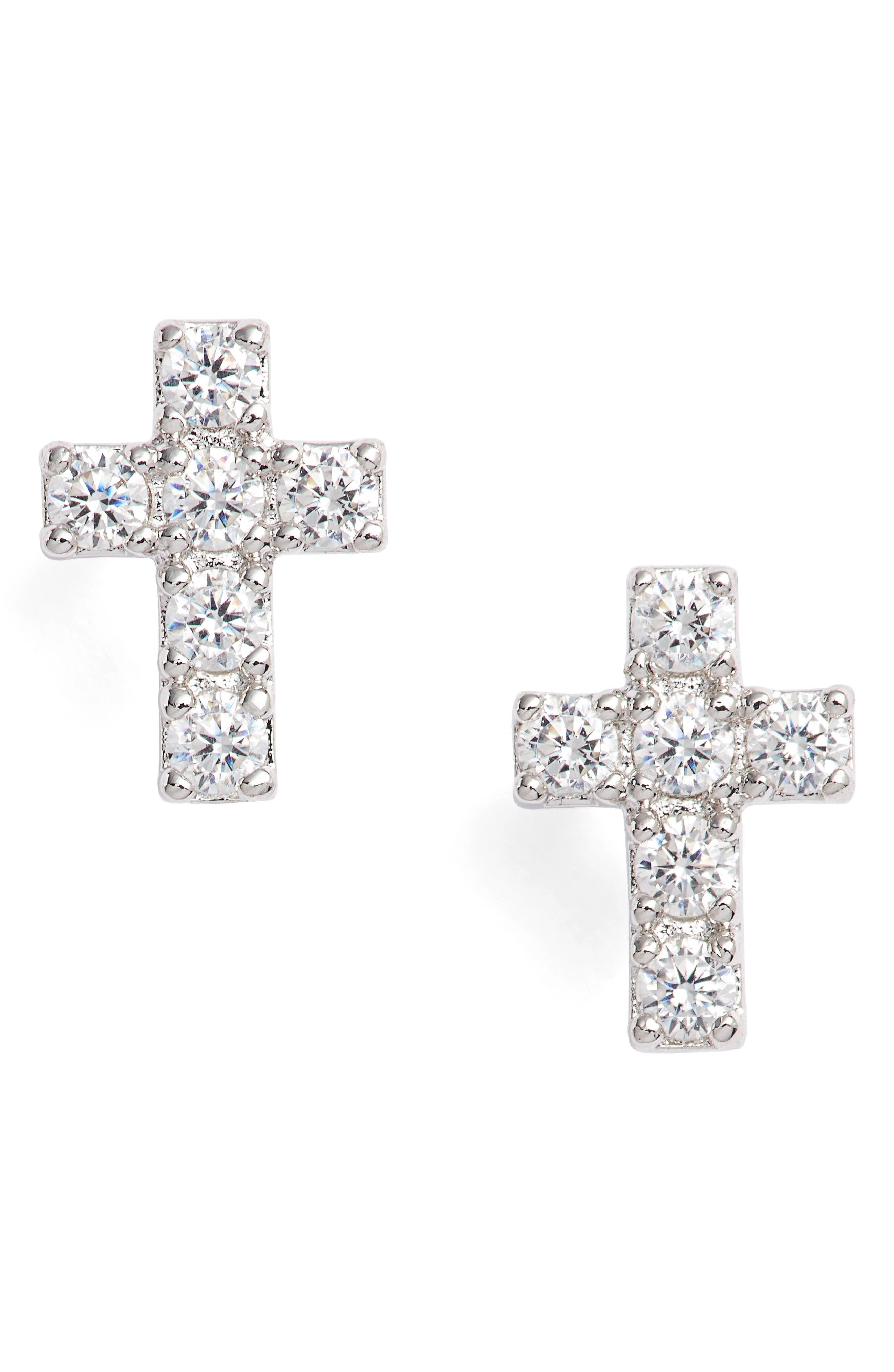 Reminisce Cubic Zirconia Cross Stud Earrings,                             Main thumbnail 1, color,                             Silver
