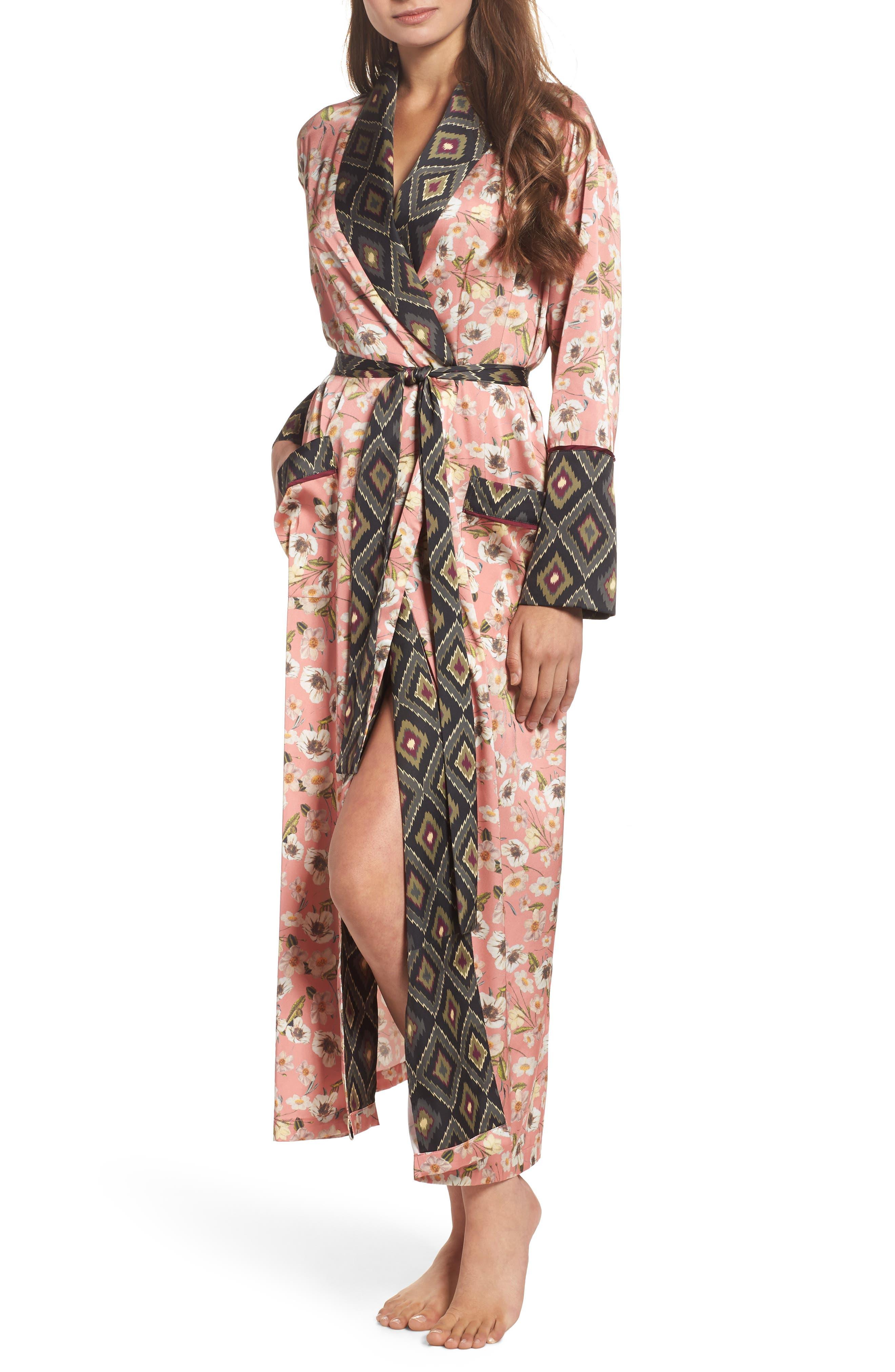 Satin Robe,                         Main,                         color, Peach