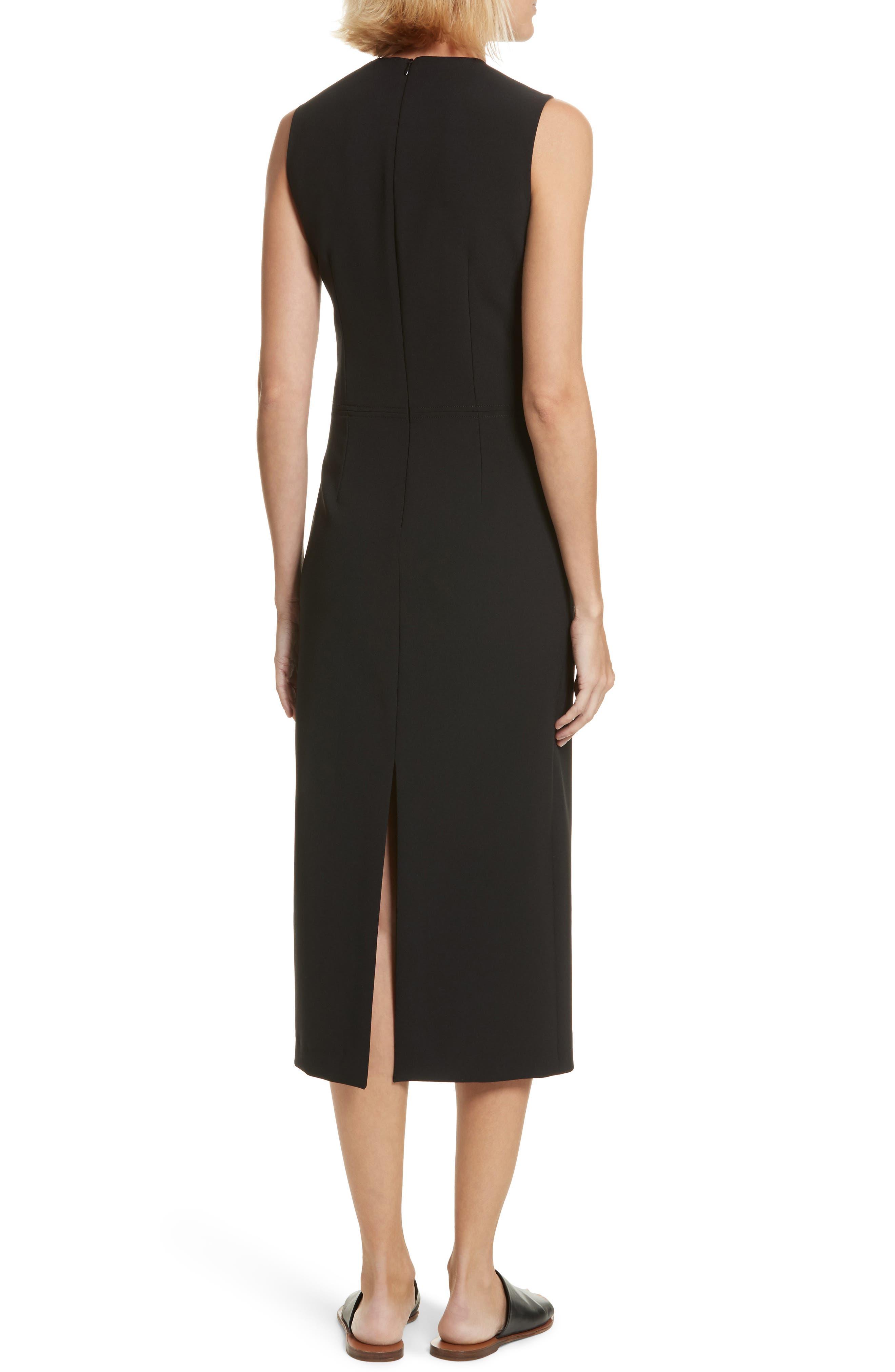 Sabine Stretch Cady Sheath Dress,                             Alternate thumbnail 2, color,                             Black