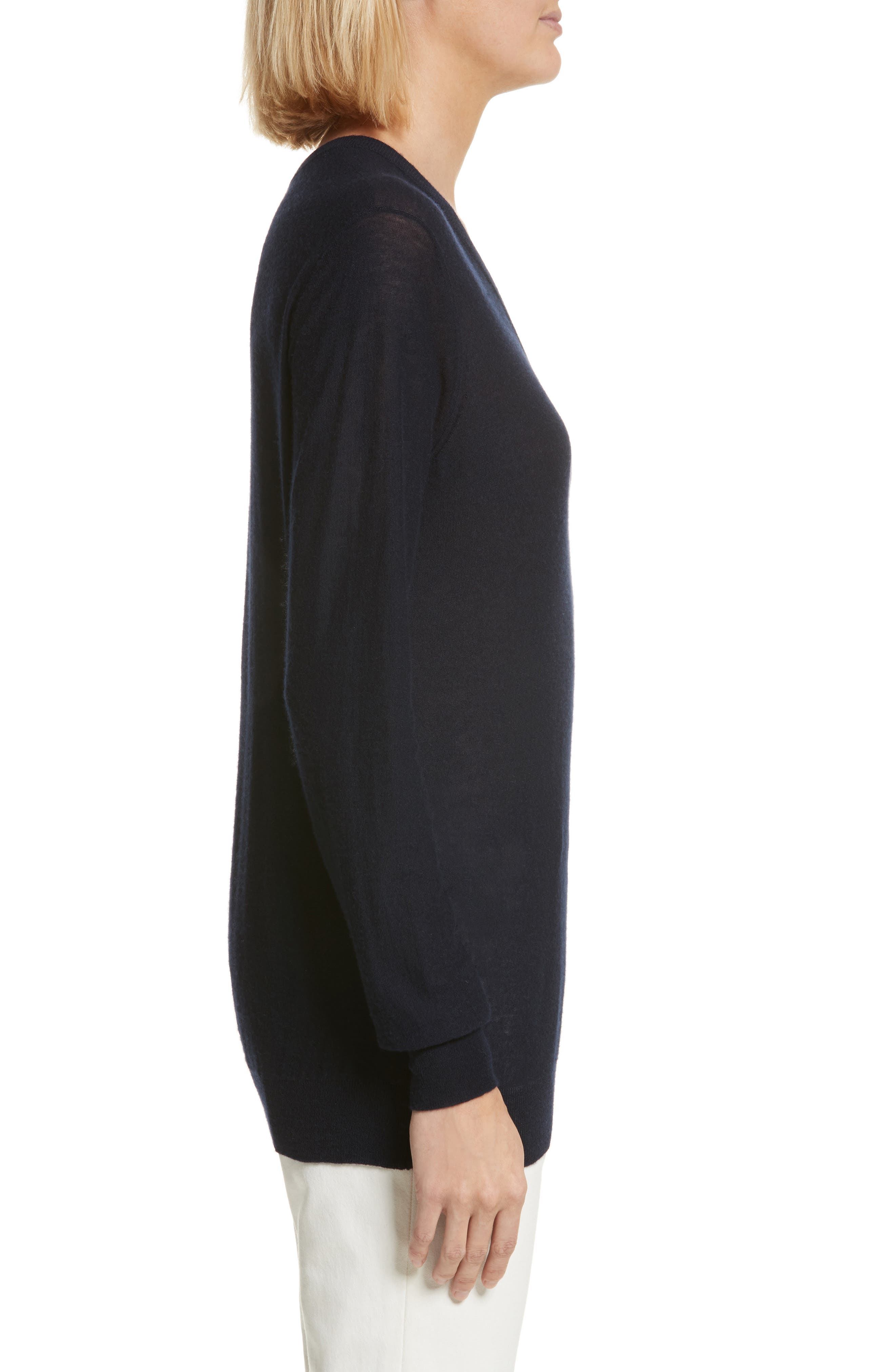 V-Neck Cashair Cashmere Sweater,                             Alternate thumbnail 3, color,                             Navy