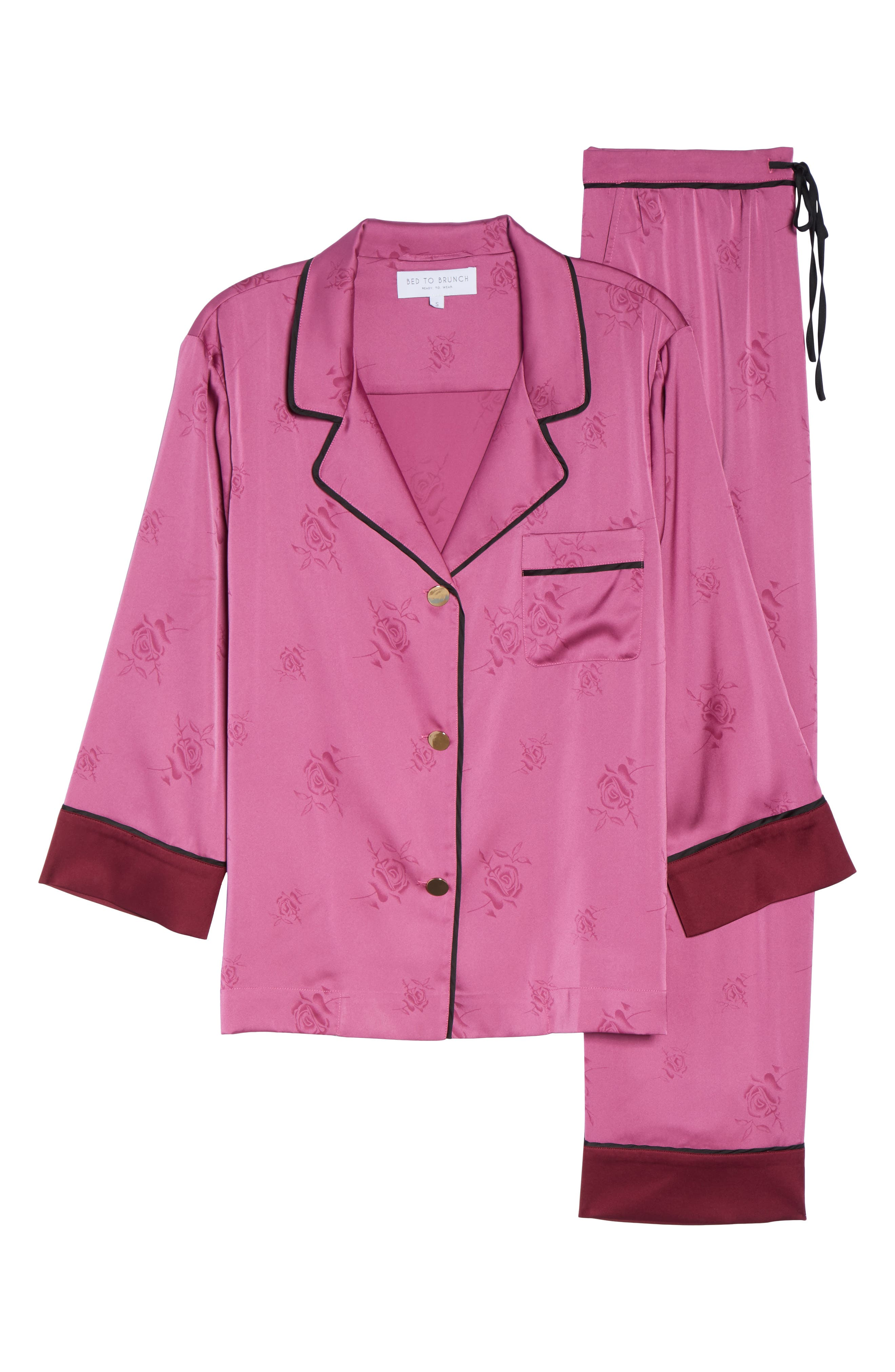 Crop Pajamas,                             Alternate thumbnail 4, color,                             Raspberry