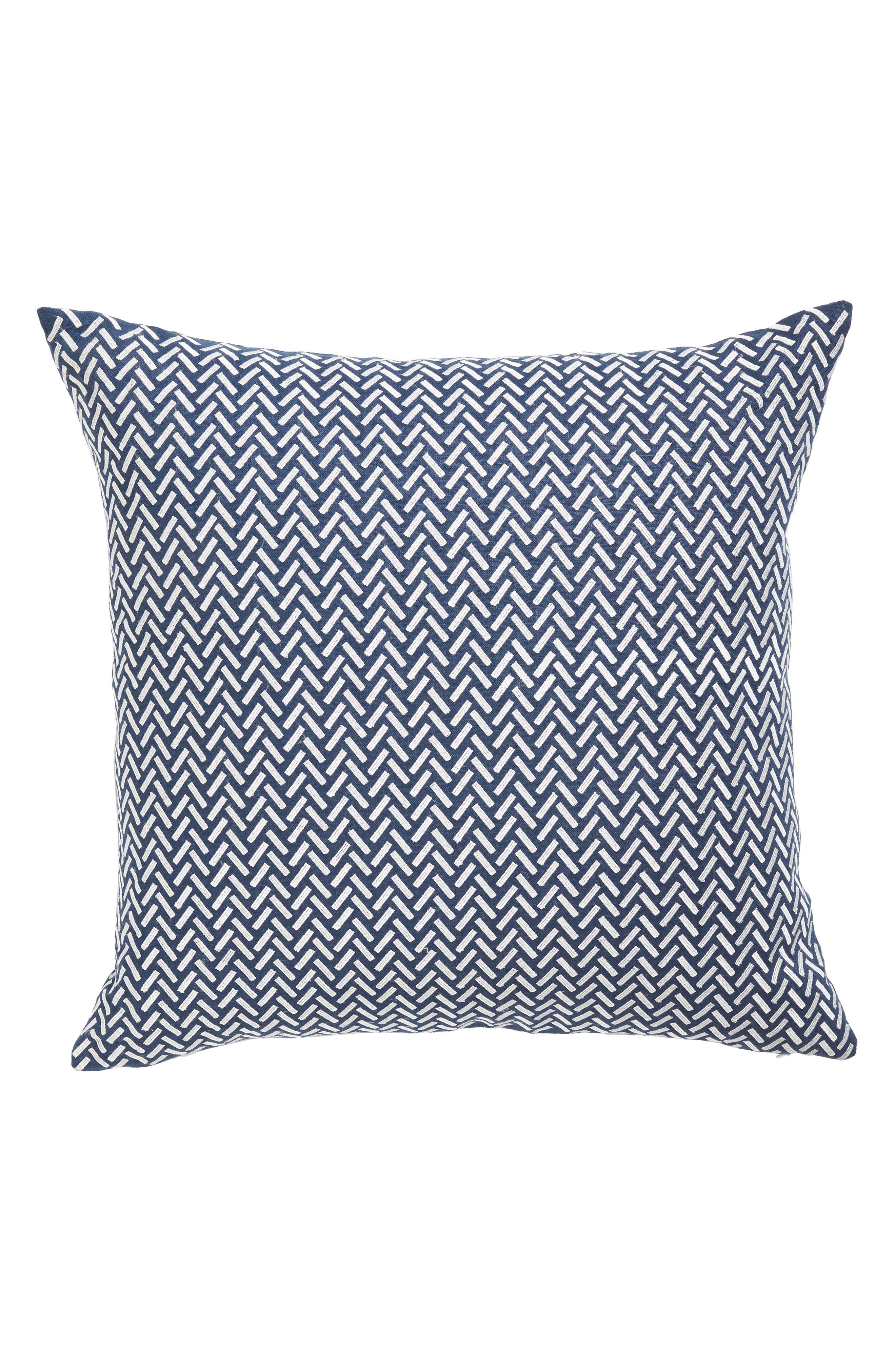 Corana Linen Pillow,                         Main,                         color, Navy/White