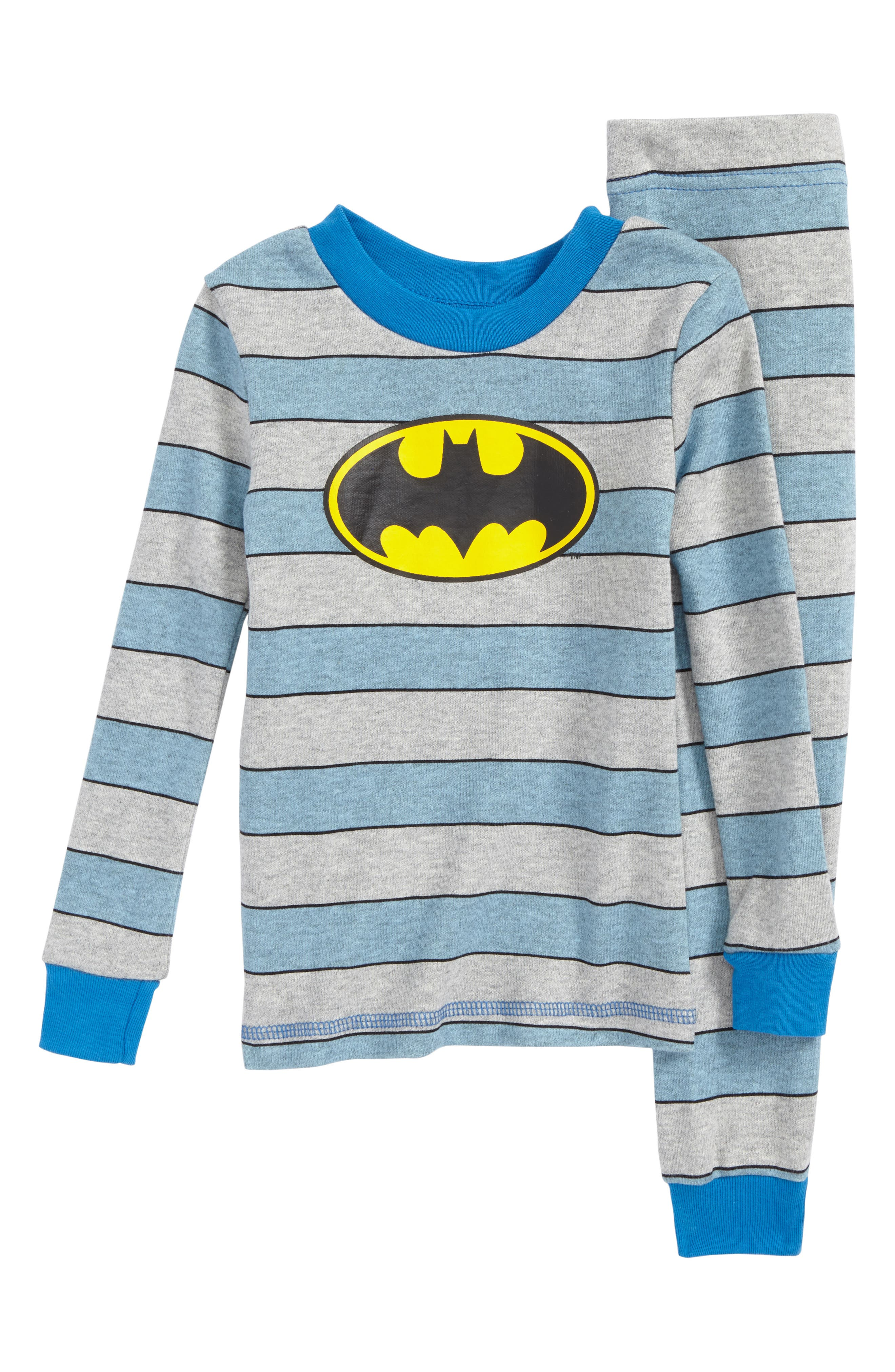 Batman Fitted Two-Piece Pajama Set,                             Main thumbnail 1, color,                             Blue