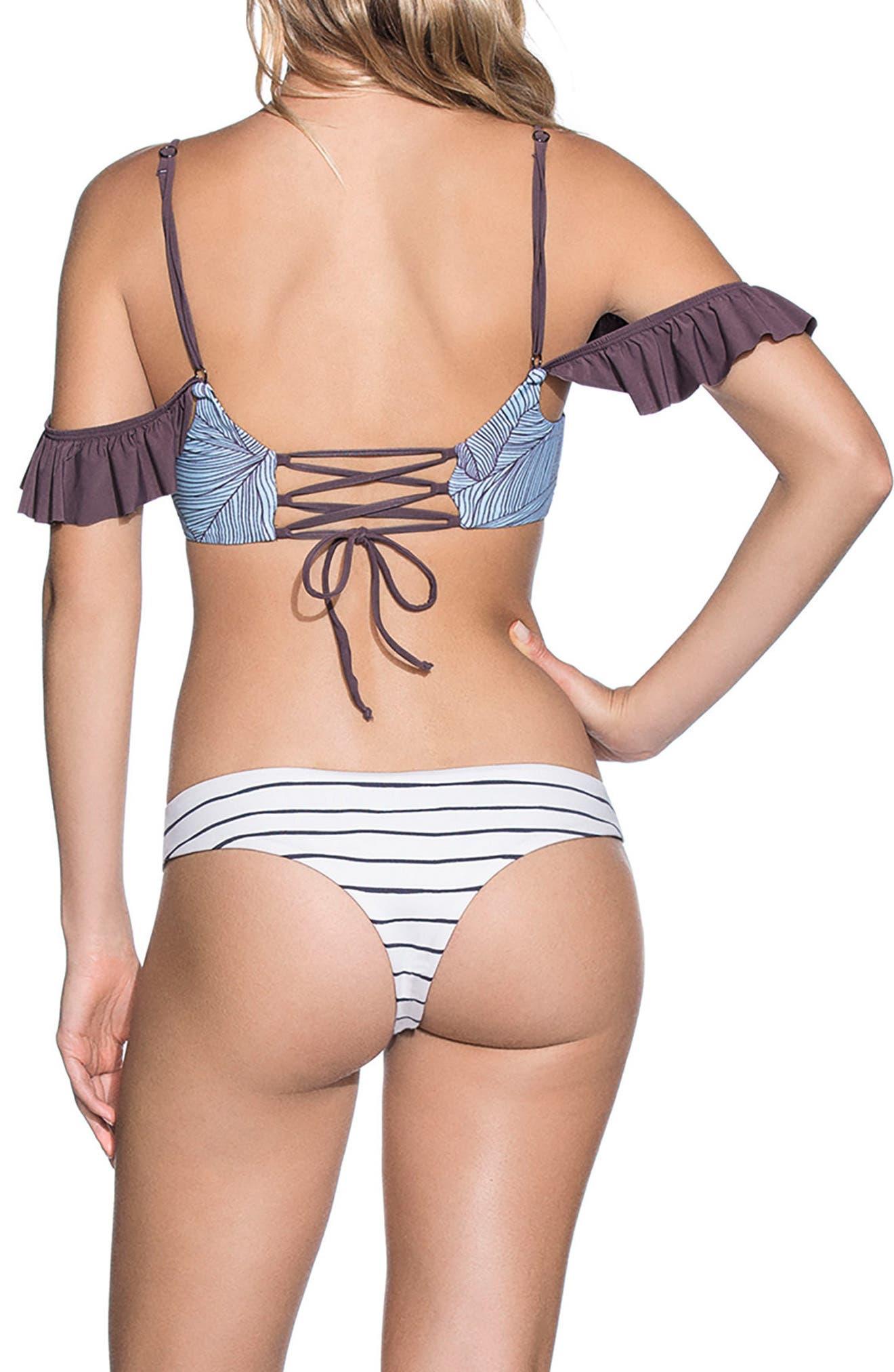 Sierra Nevada Off the Shoulder Reversible Bikini Top,                             Alternate thumbnail 4, color,                             Purple Multi