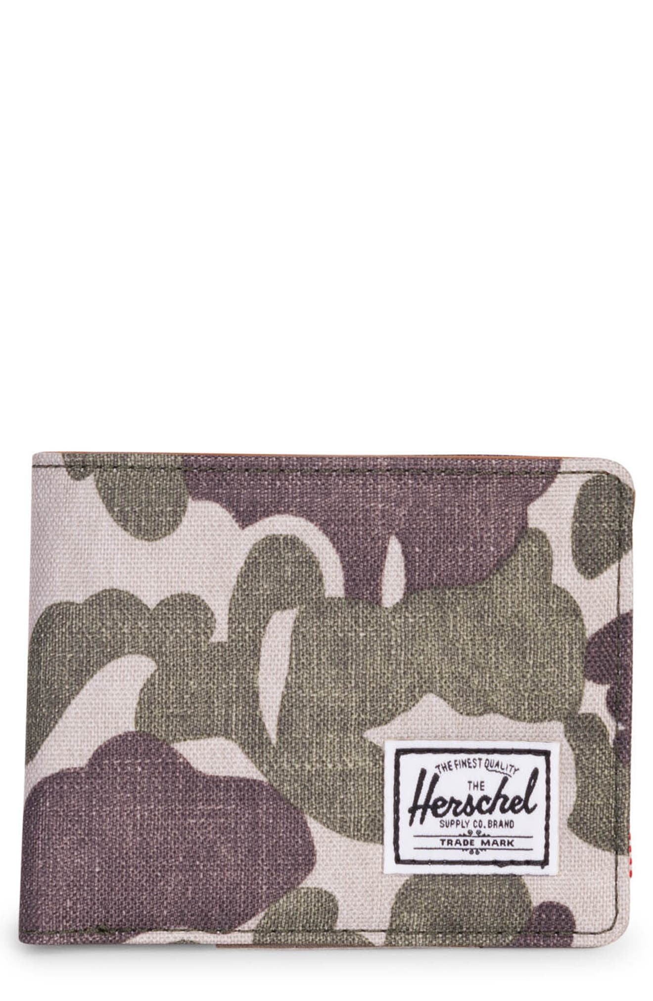 Hank Wallet,                         Main,                         color, Frog Camo/ Tan Synth Leather