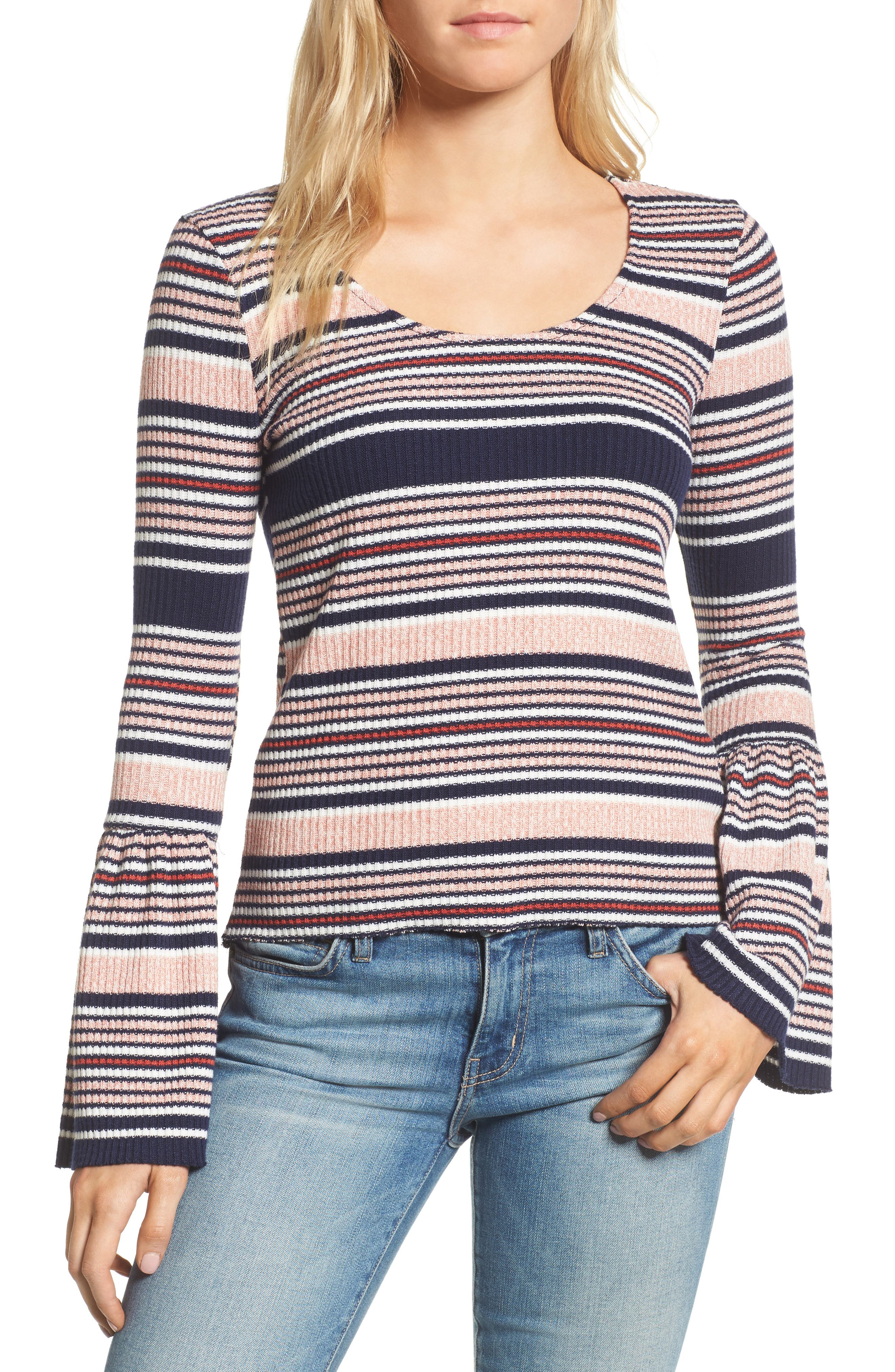 Stripe Bell Sleeve Tee,                             Main thumbnail 1, color,                             Multi
