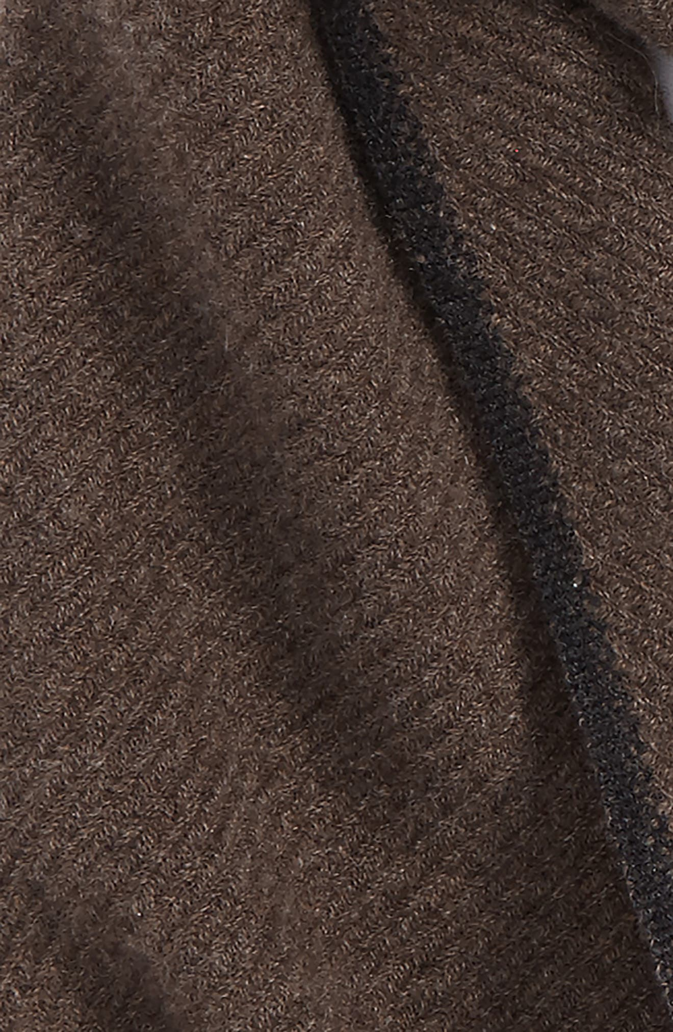 Contrast Selvedge Cashmere Scarf,                             Alternate thumbnail 3, color,                             Brown