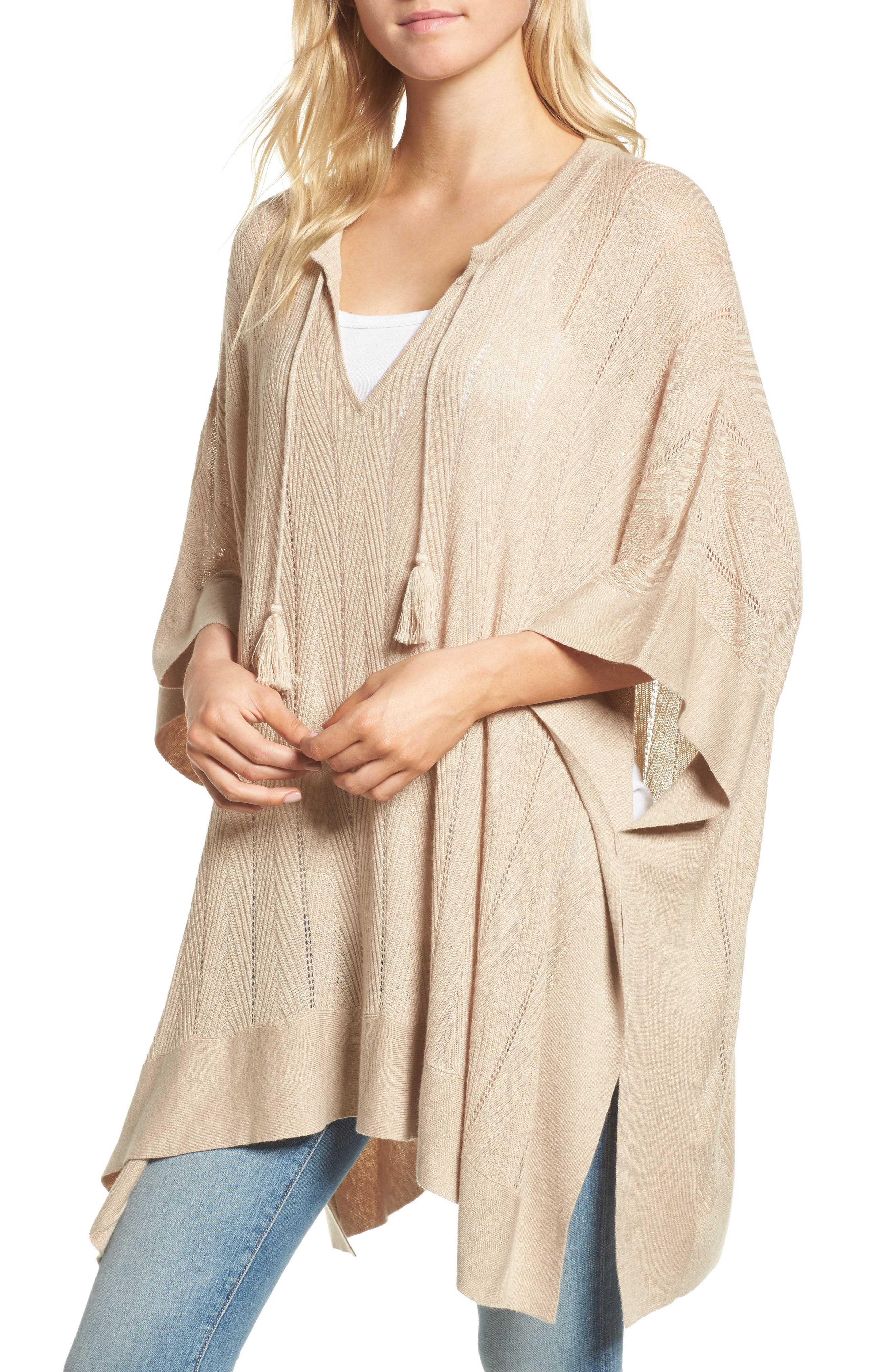 Pebble Poncho Sweater,                         Main,                         color, Oatmeal