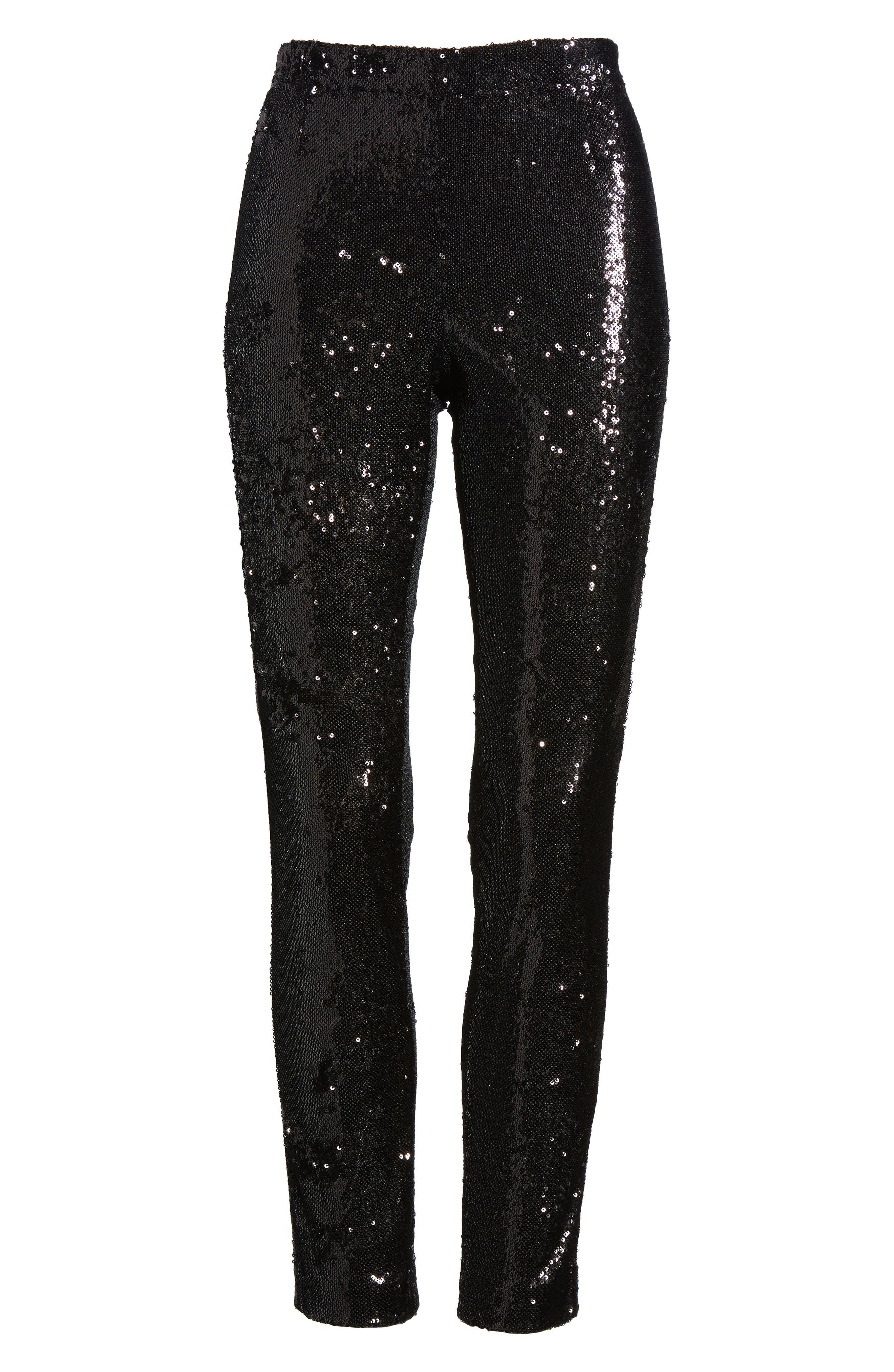 Glendora Sequin Crop Pants,                             Alternate thumbnail 6, color,                             Black