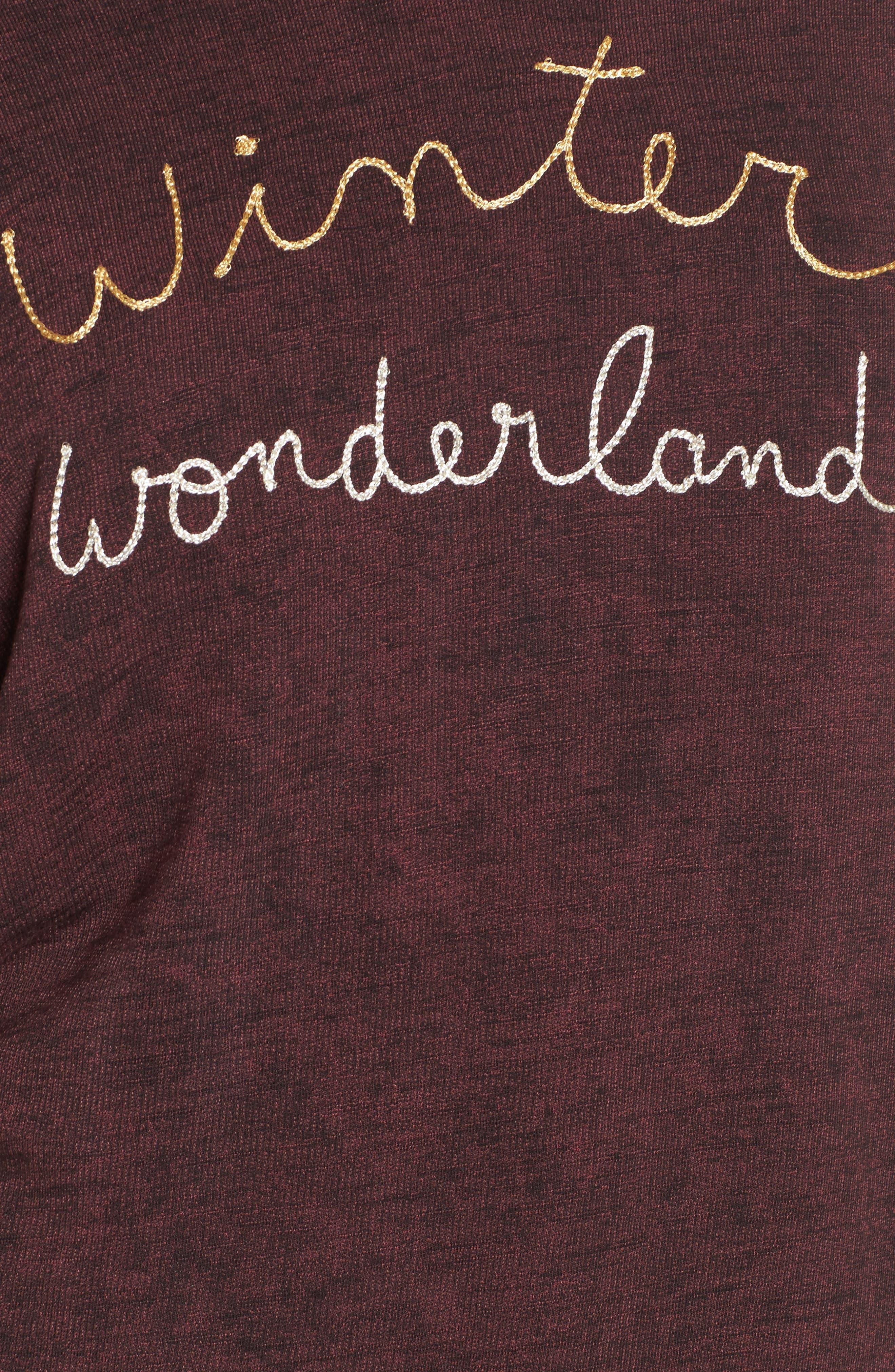 Active Winter Wonderland Sweatshirt,                             Alternate thumbnail 5, color,                             Burgundy Acid Wash