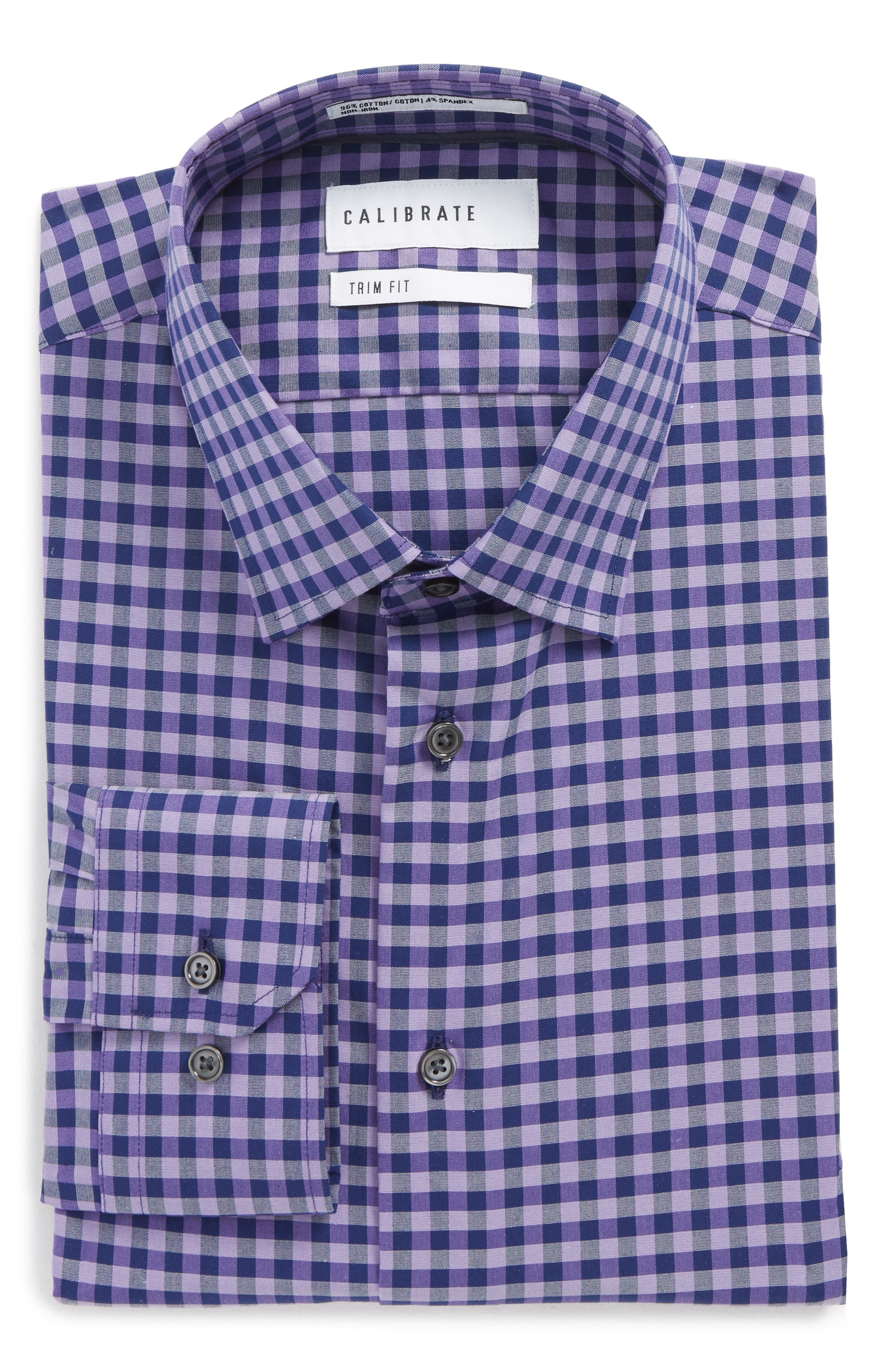 Main Image - Calibrate Trim Fit Stretch Non-Iron Check Dress Shirt