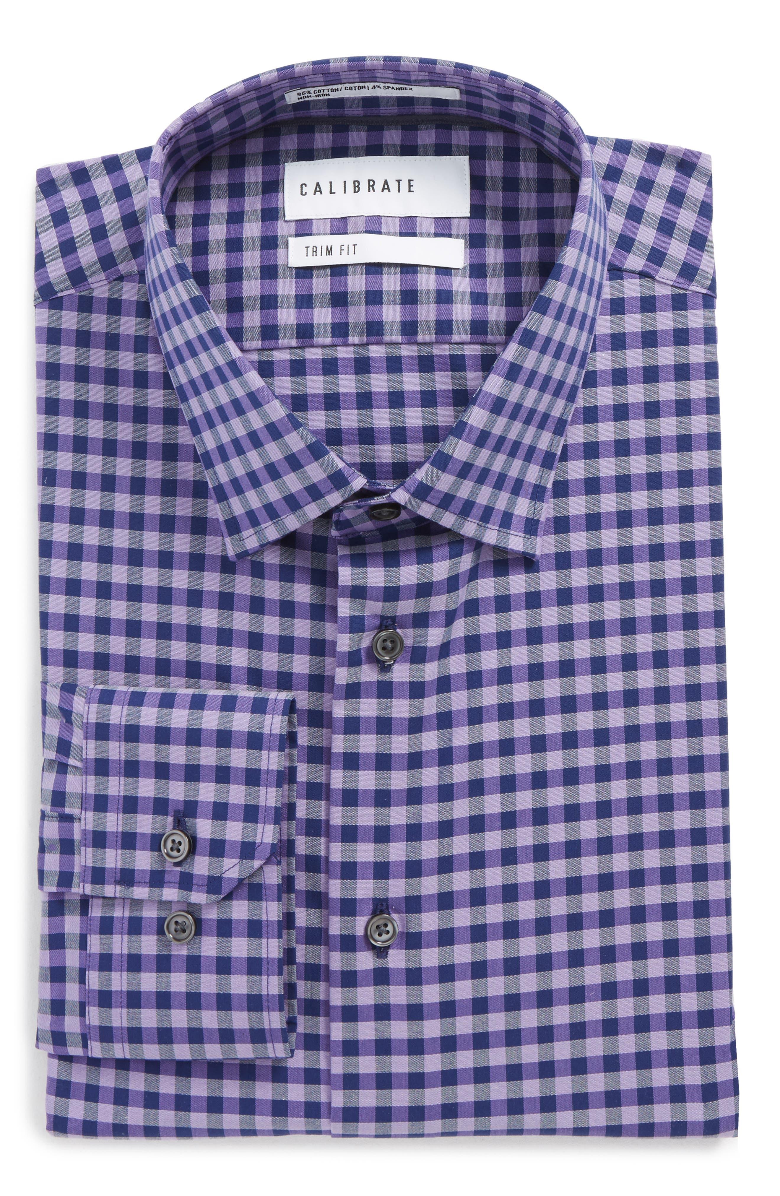 Trim Fit Stretch Non-Iron Check Dress Shirt,                         Main,                         color, Purple Flower