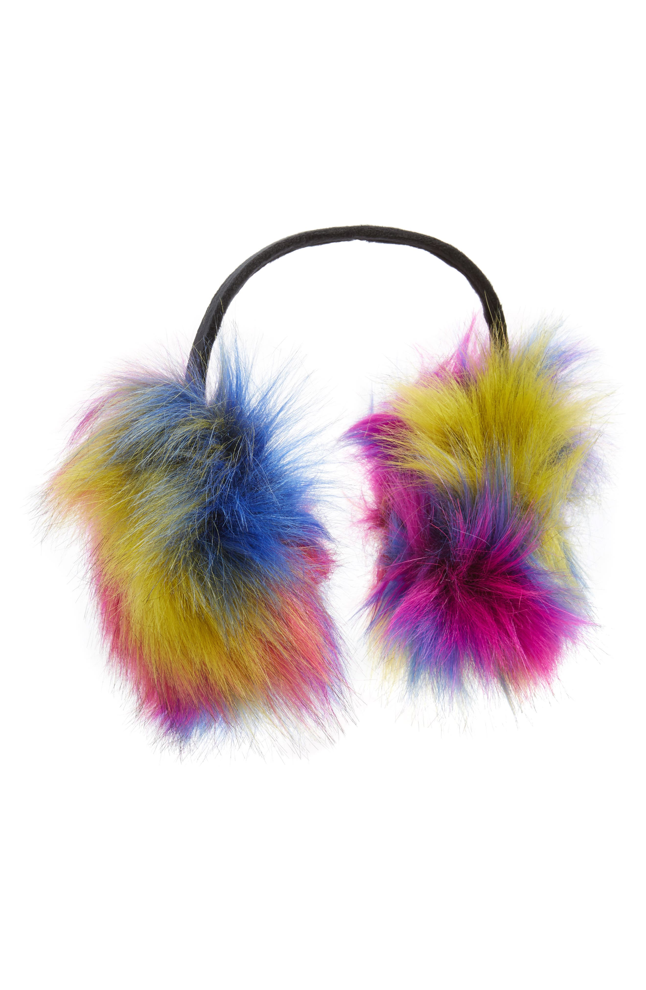 Capelli New York Tie Dye Faux Fur Earmuffs