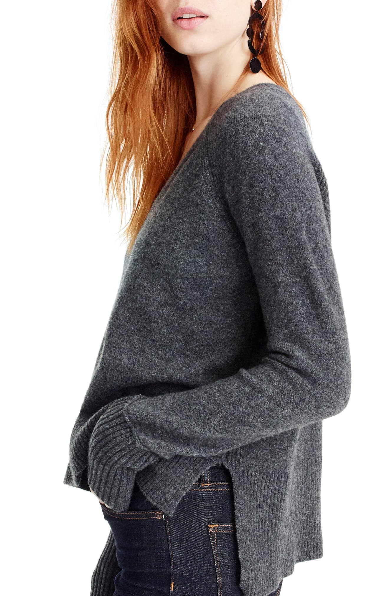 J.Crew Supersoft Yarn V-Neck Sweater,                             Alternate thumbnail 2, color,                             Heather Carbon