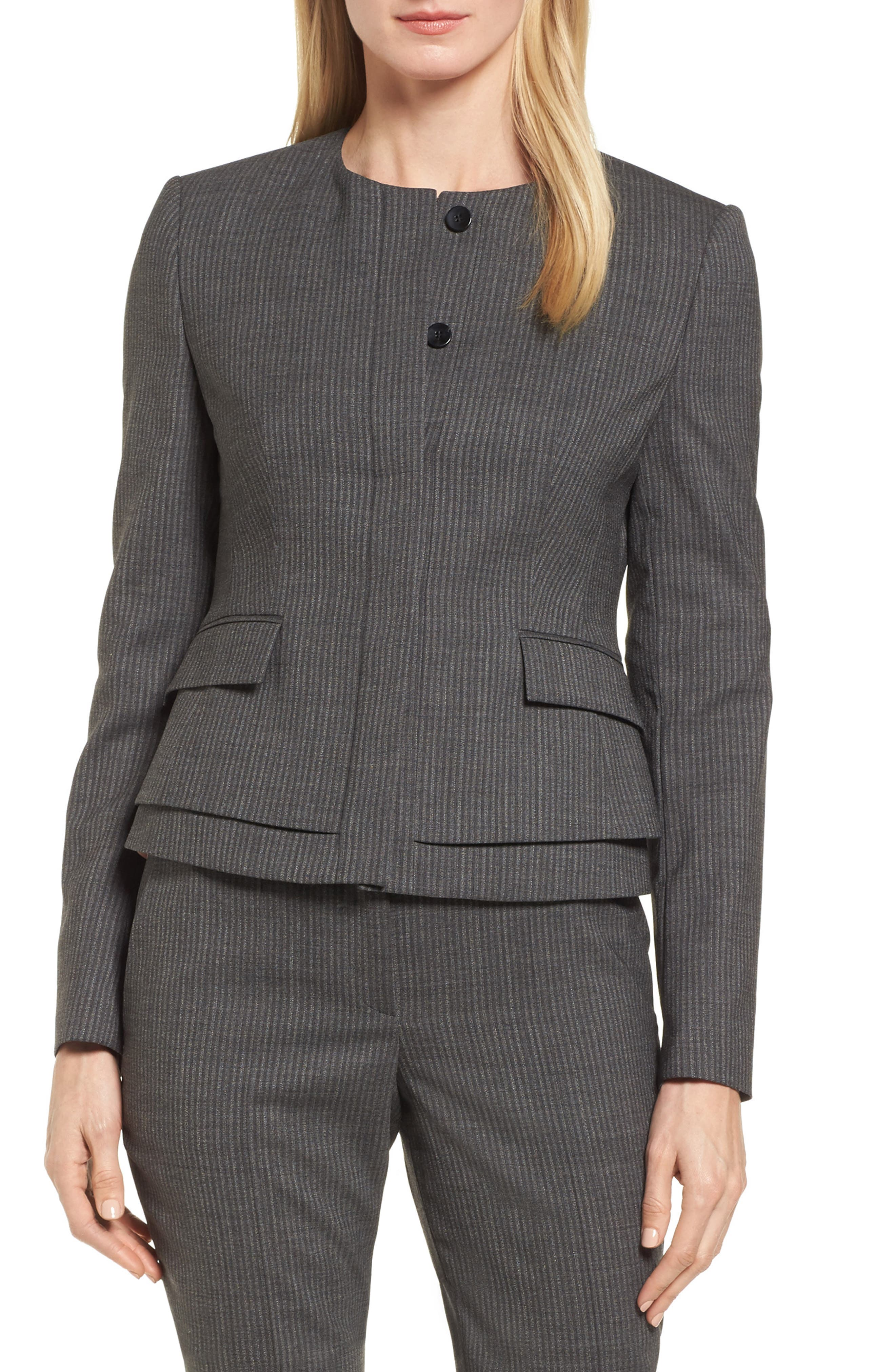 Jasyma Stripe Wool Suit Jacket,                             Main thumbnail 1, color,                             Dark Grey Fantasy