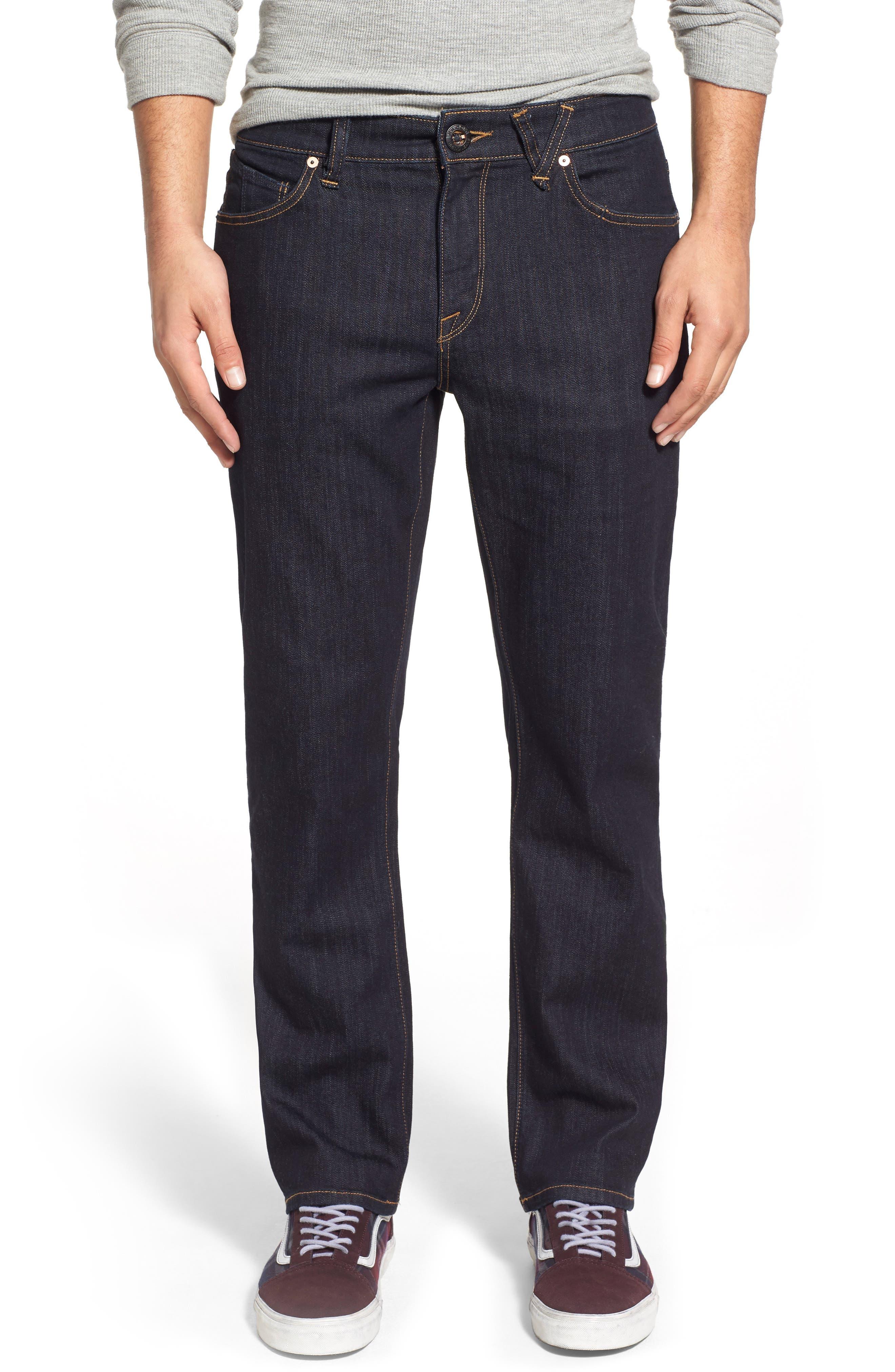 Main Image - Volcom Solver Denim Pants (Blue Rinse)