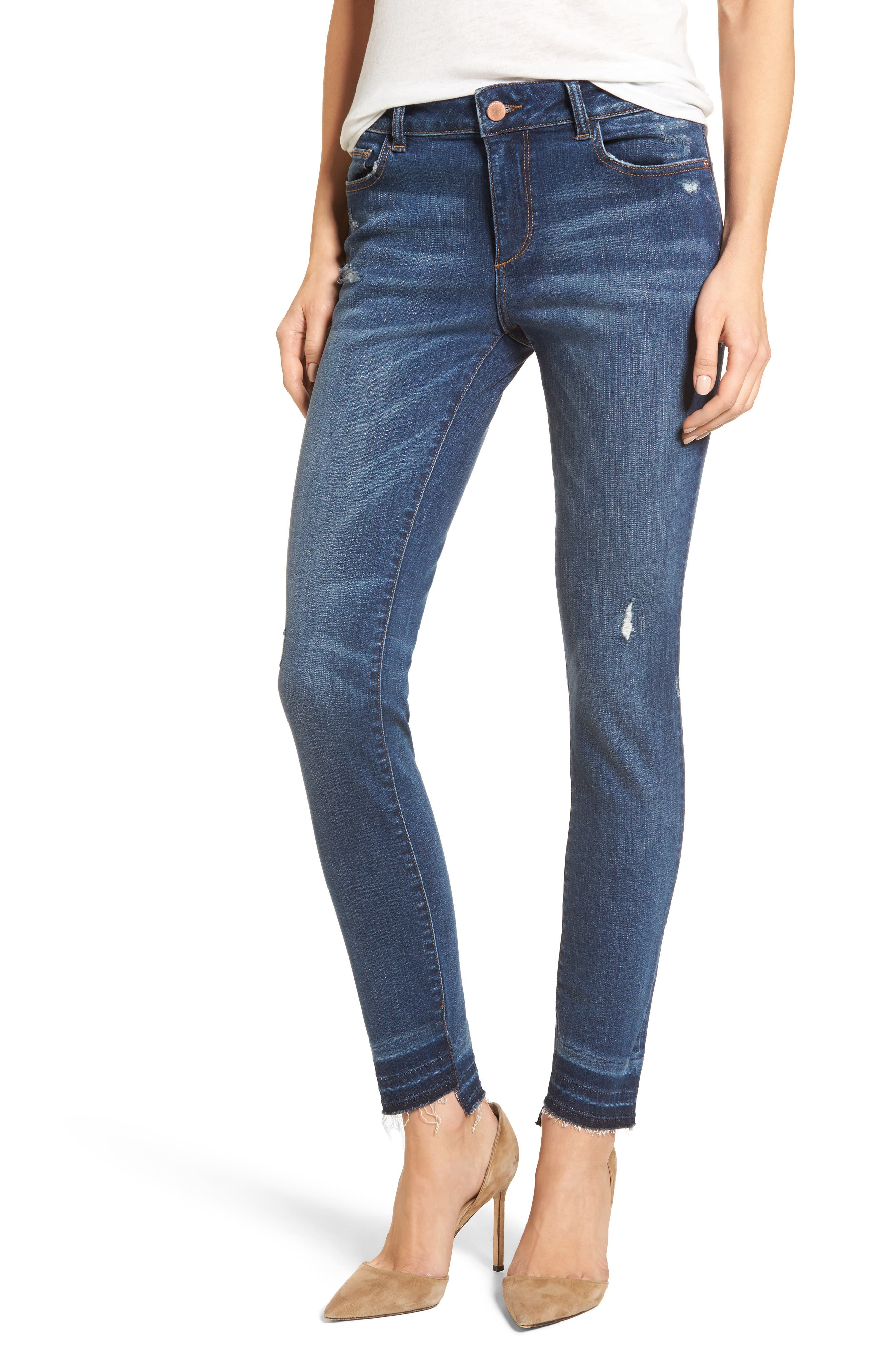 Florence Released Step Hem Skinny Jeans,                             Main thumbnail 1, color,                             Rosewood