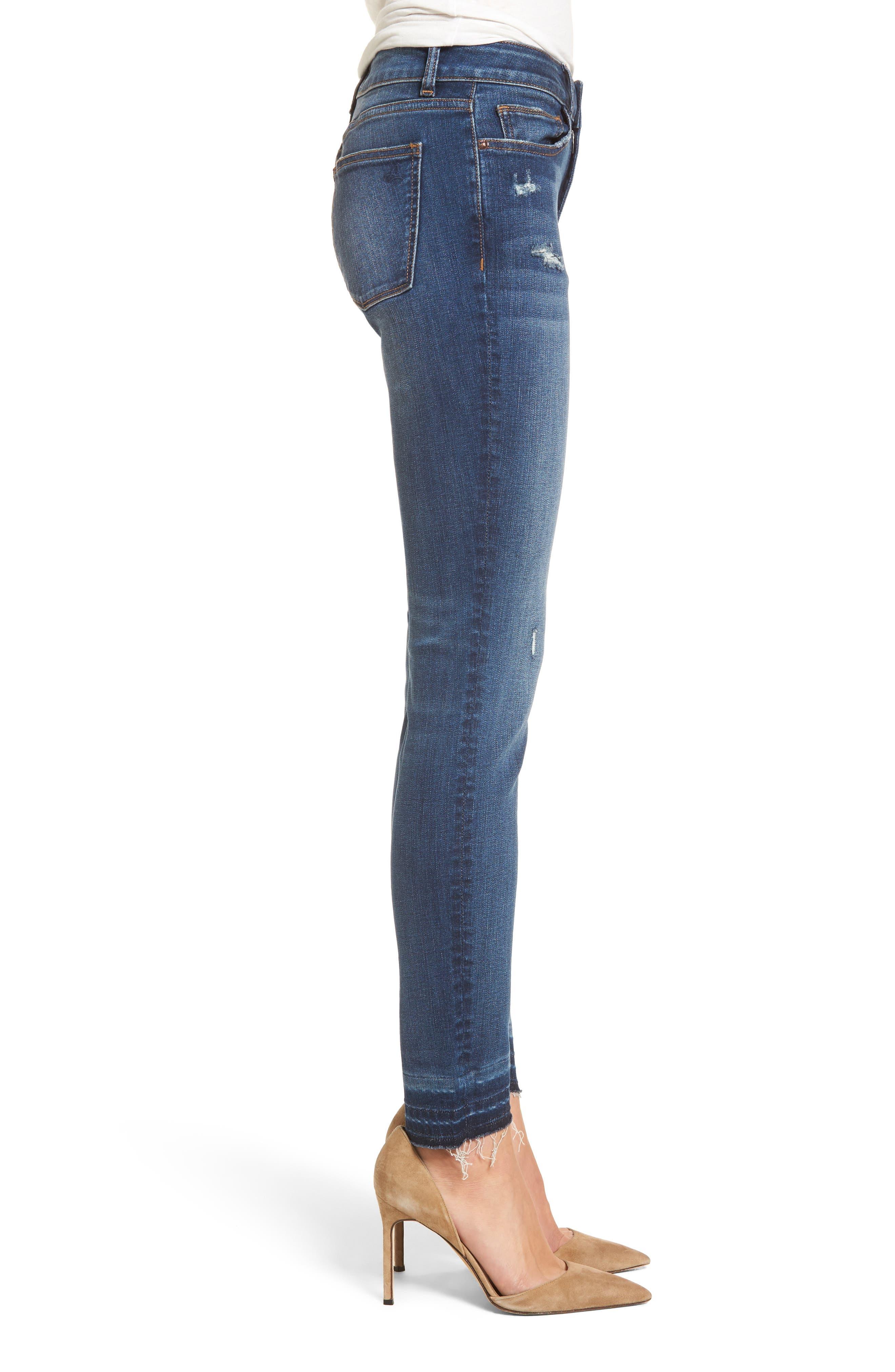 Florence Released Step Hem Skinny Jeans,                             Alternate thumbnail 3, color,                             Rosewood