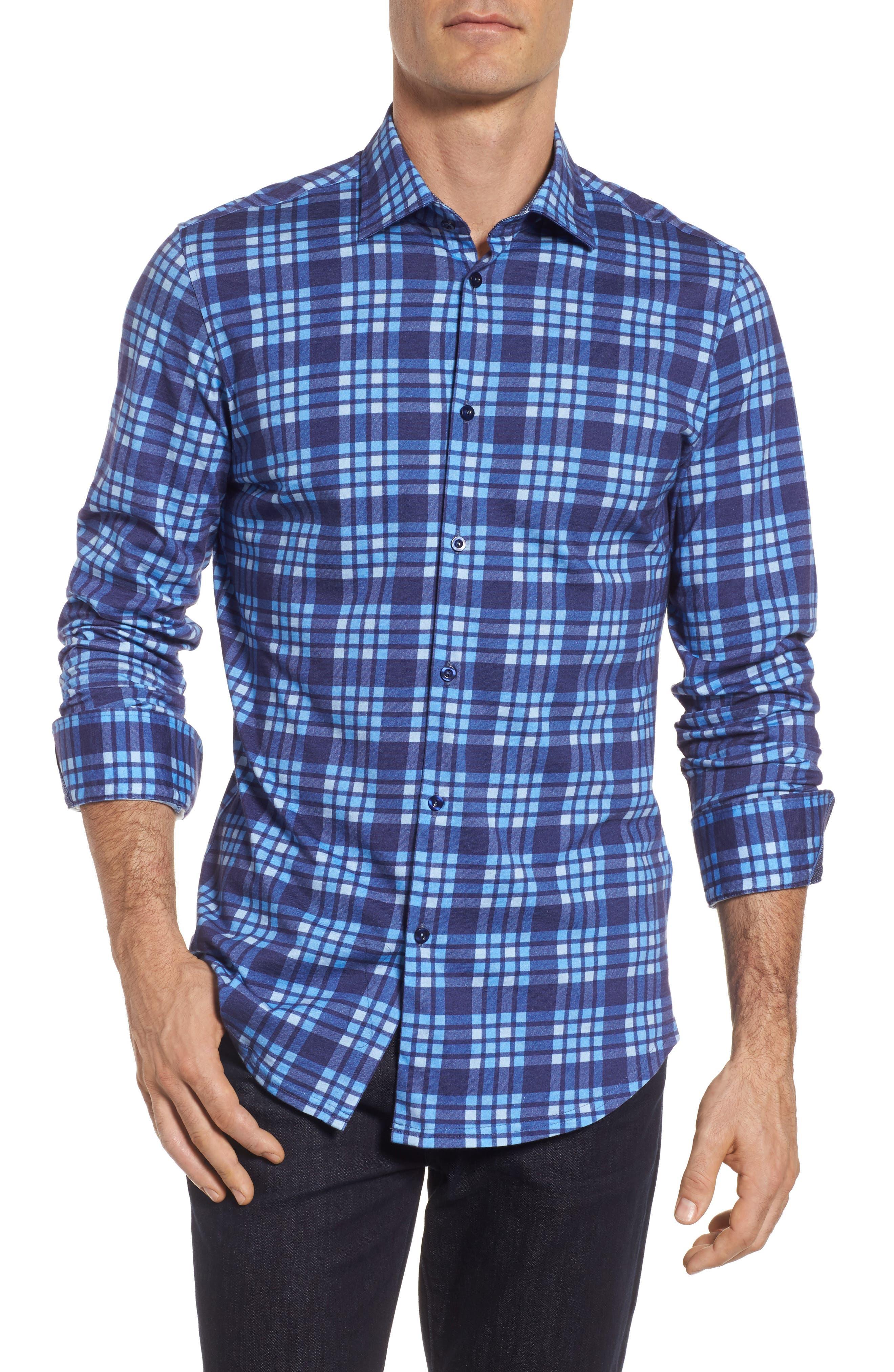 Plaid Print Jersey Shirt,                         Main,                         color, Navy