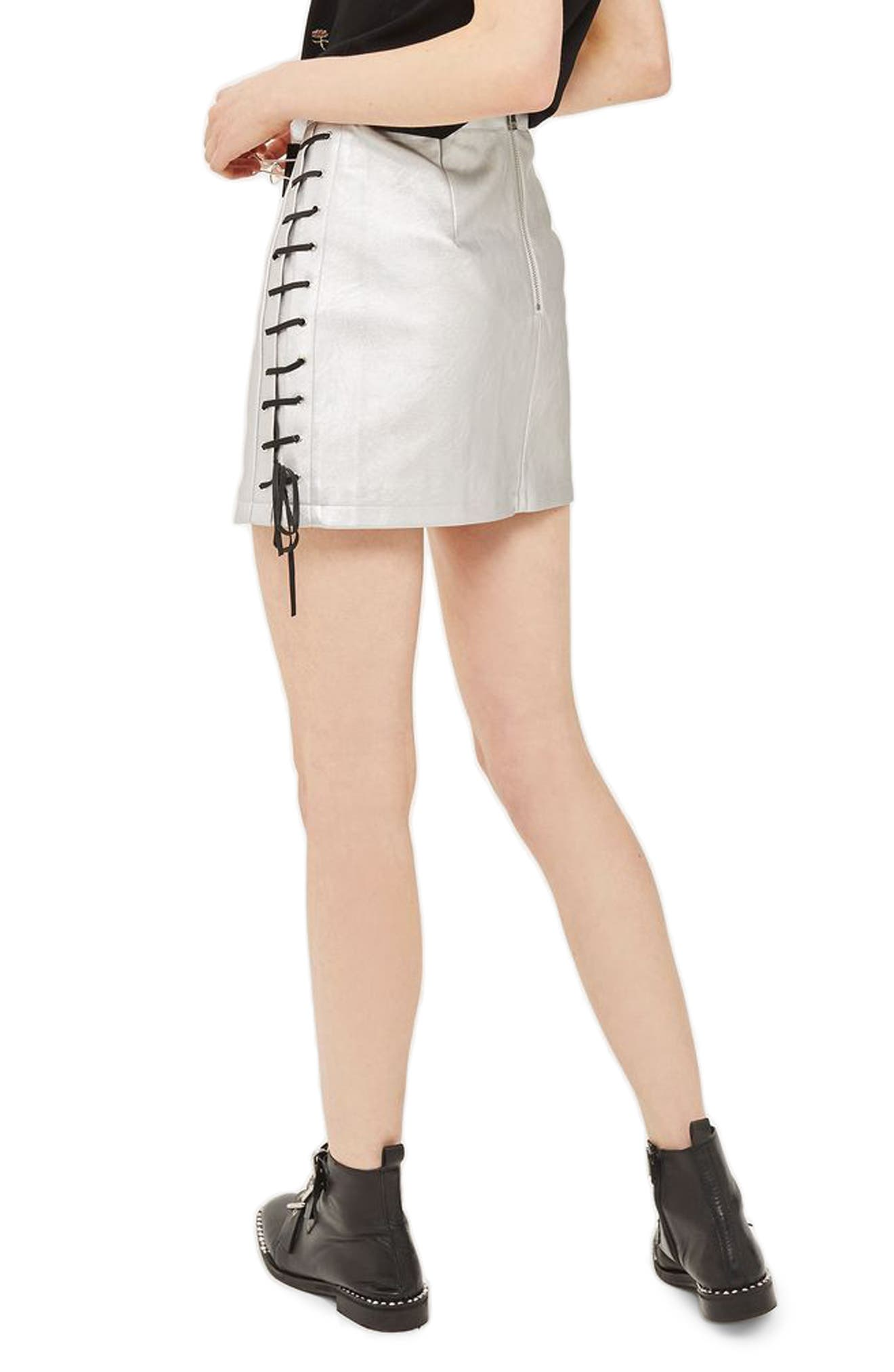 Lace-Up Side Faux Leather Skirt,                             Alternate thumbnail 2, color,                             Silver