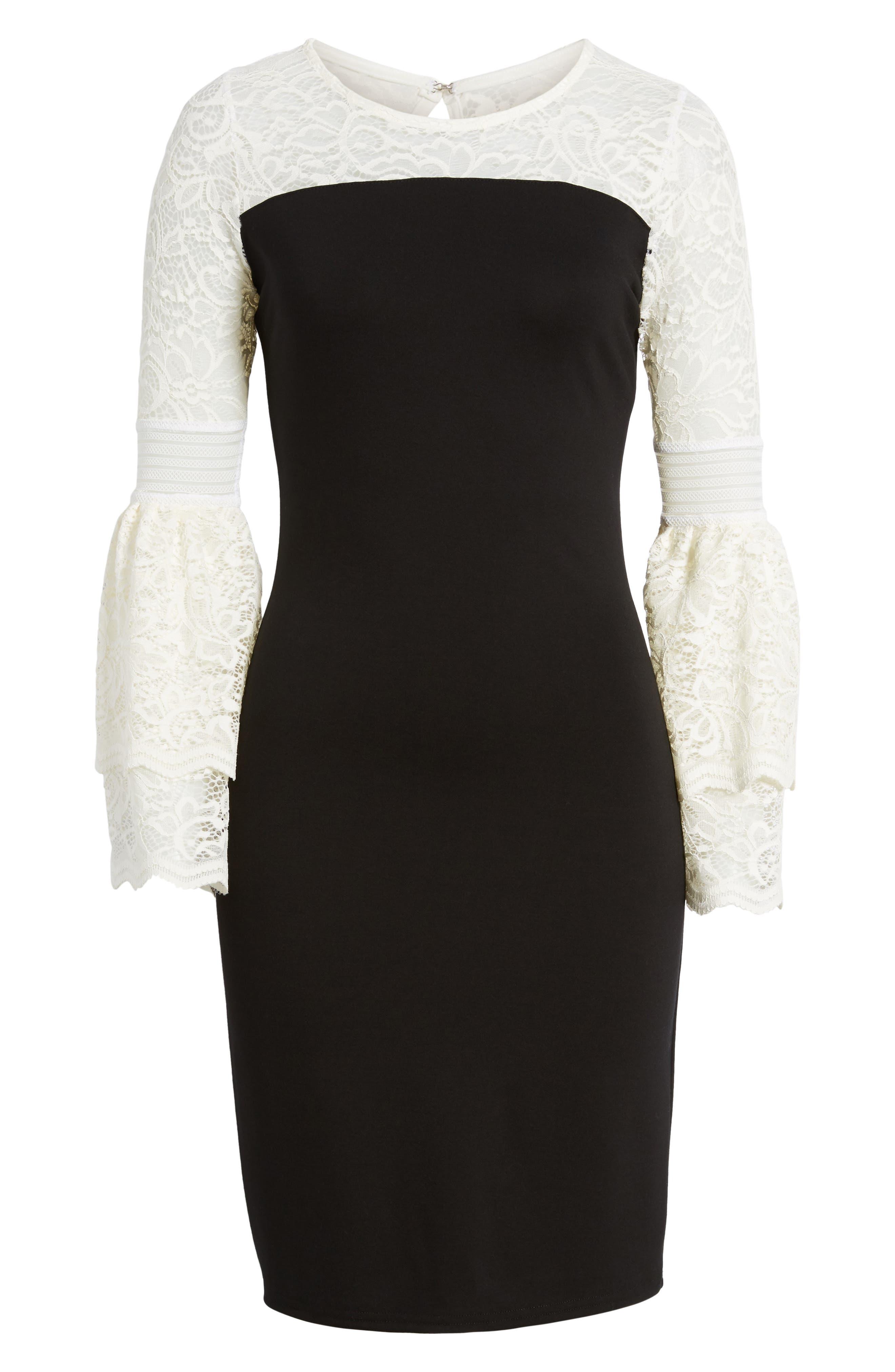 Floetry Bell Sleeve Sheath Dress,                             Alternate thumbnail 6, color,                             Cream Lace/ Black