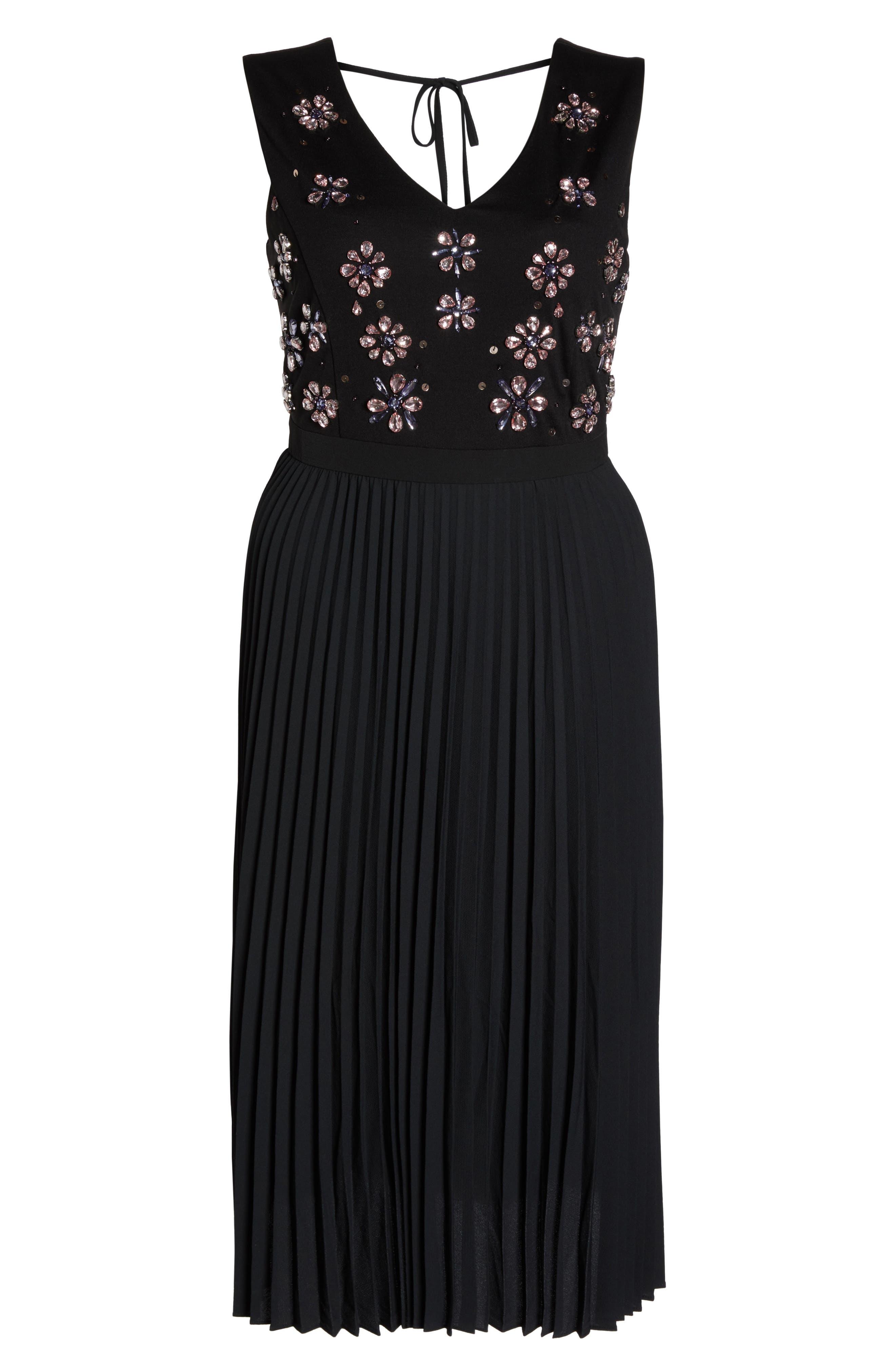 Crystal Flower Embellished Dress,                             Alternate thumbnail 7, color,                             Black