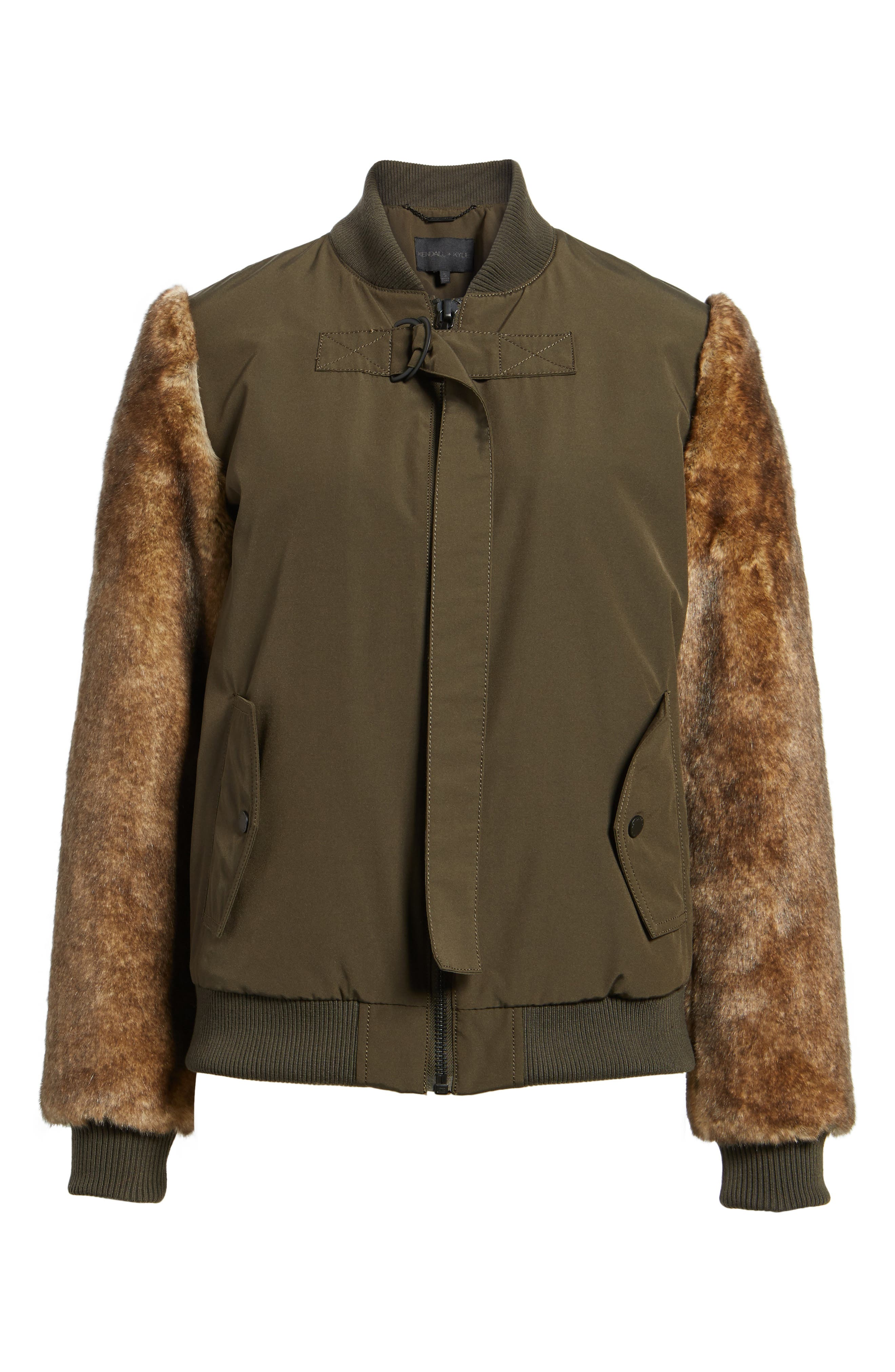 Faux Fur Sleeve Bomber Jacket,                             Alternate thumbnail 6, color,                             Army Green