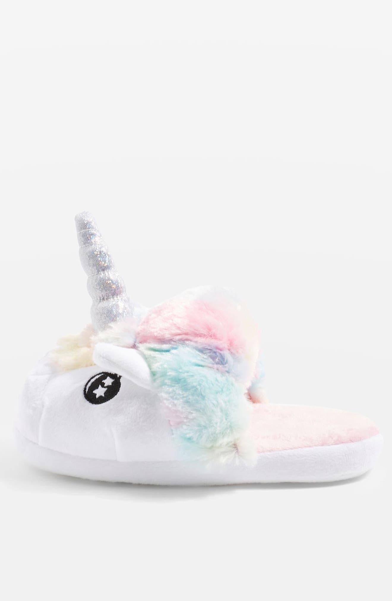 Mya Unicorn Slippers,                             Alternate thumbnail 2, color,                             White Multi