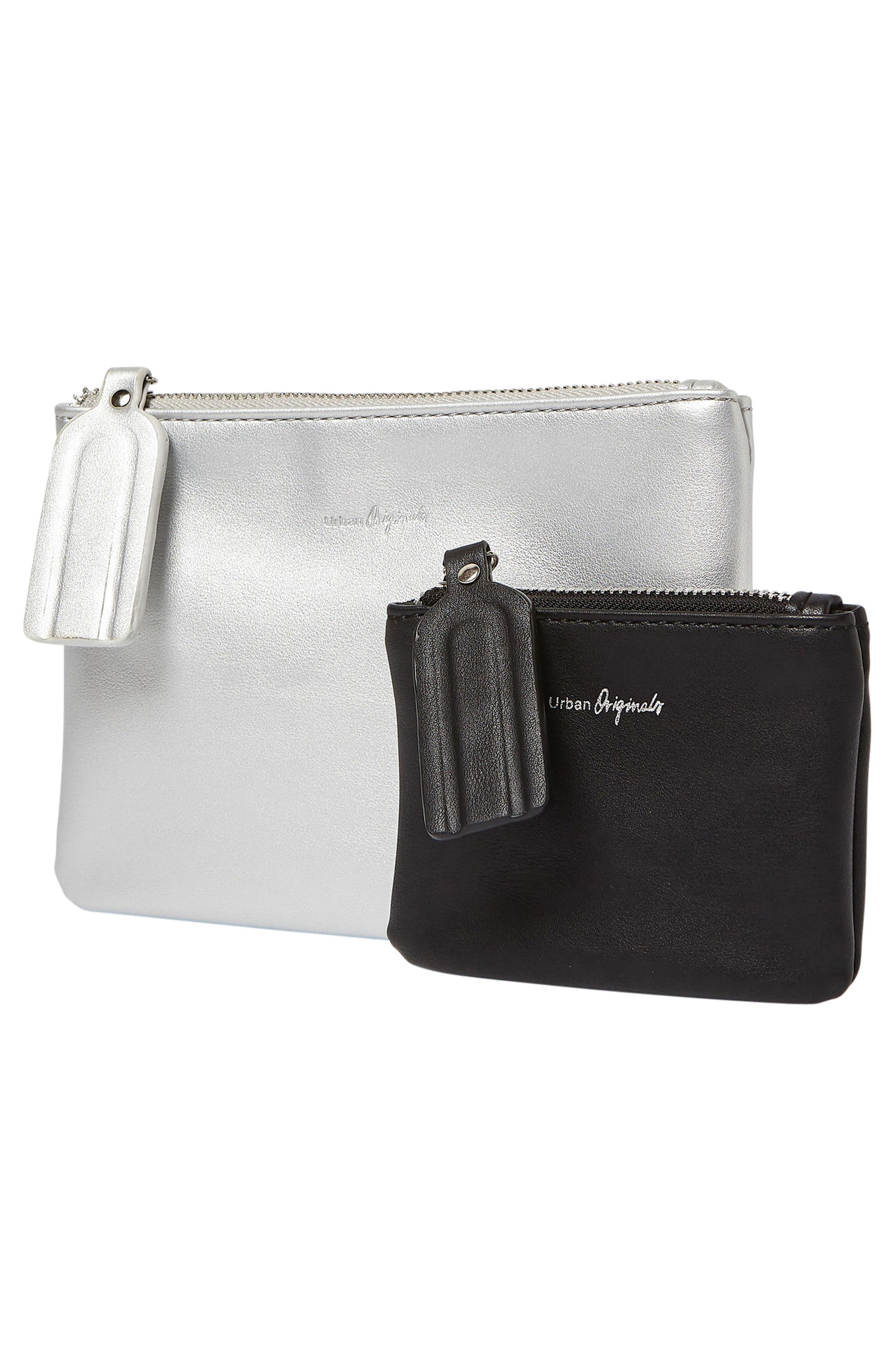 Dreamer 2-Pack Vegan Leather Card Cases,                             Alternate thumbnail 2, color,                             Black/ Silver